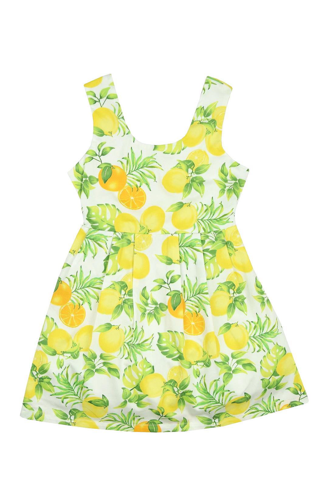 yellow lemon print flower girl dress