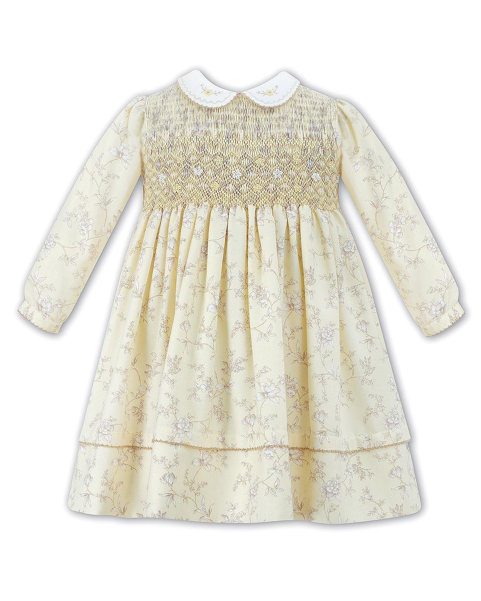 long sleeve yellow flower girl dress