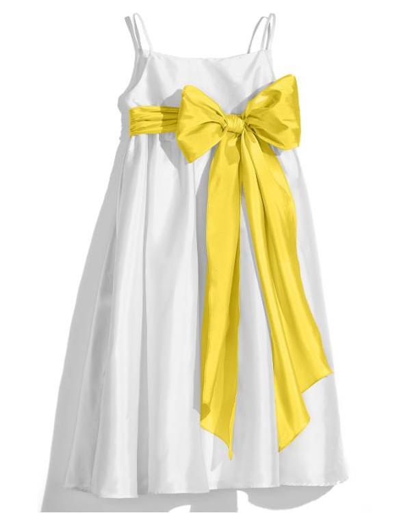 white flower girl dress yellow bow