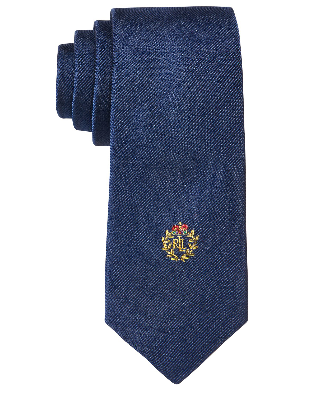 ring bearer solid crest blue tie