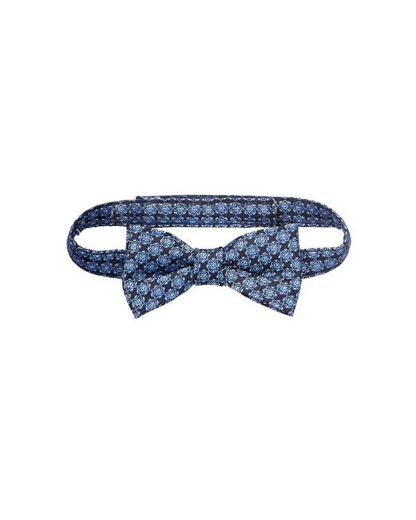 ring bearer black blue geo floral bow tie