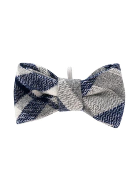 ring bearer navy white grey plaid bow tie