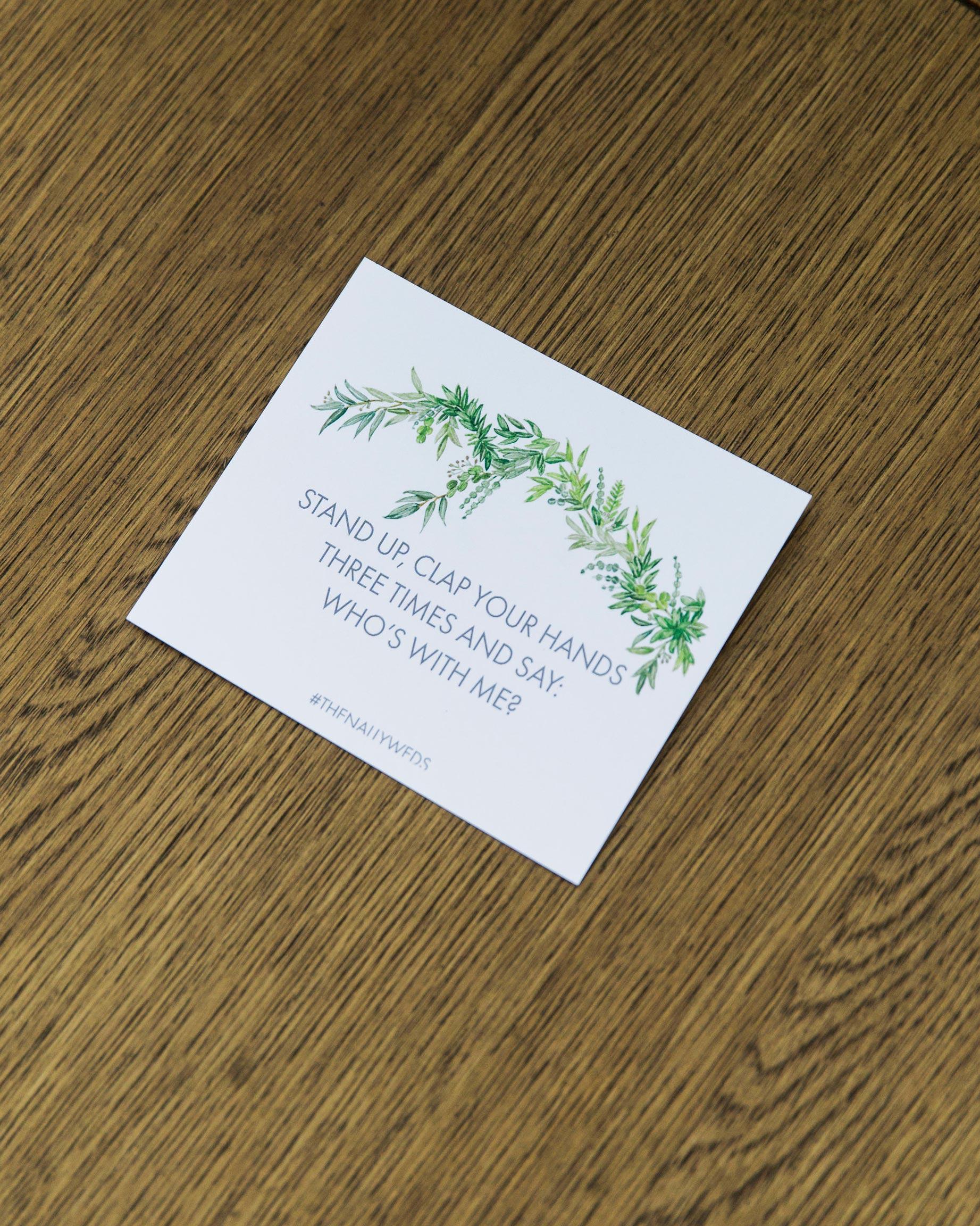wedding prompt card