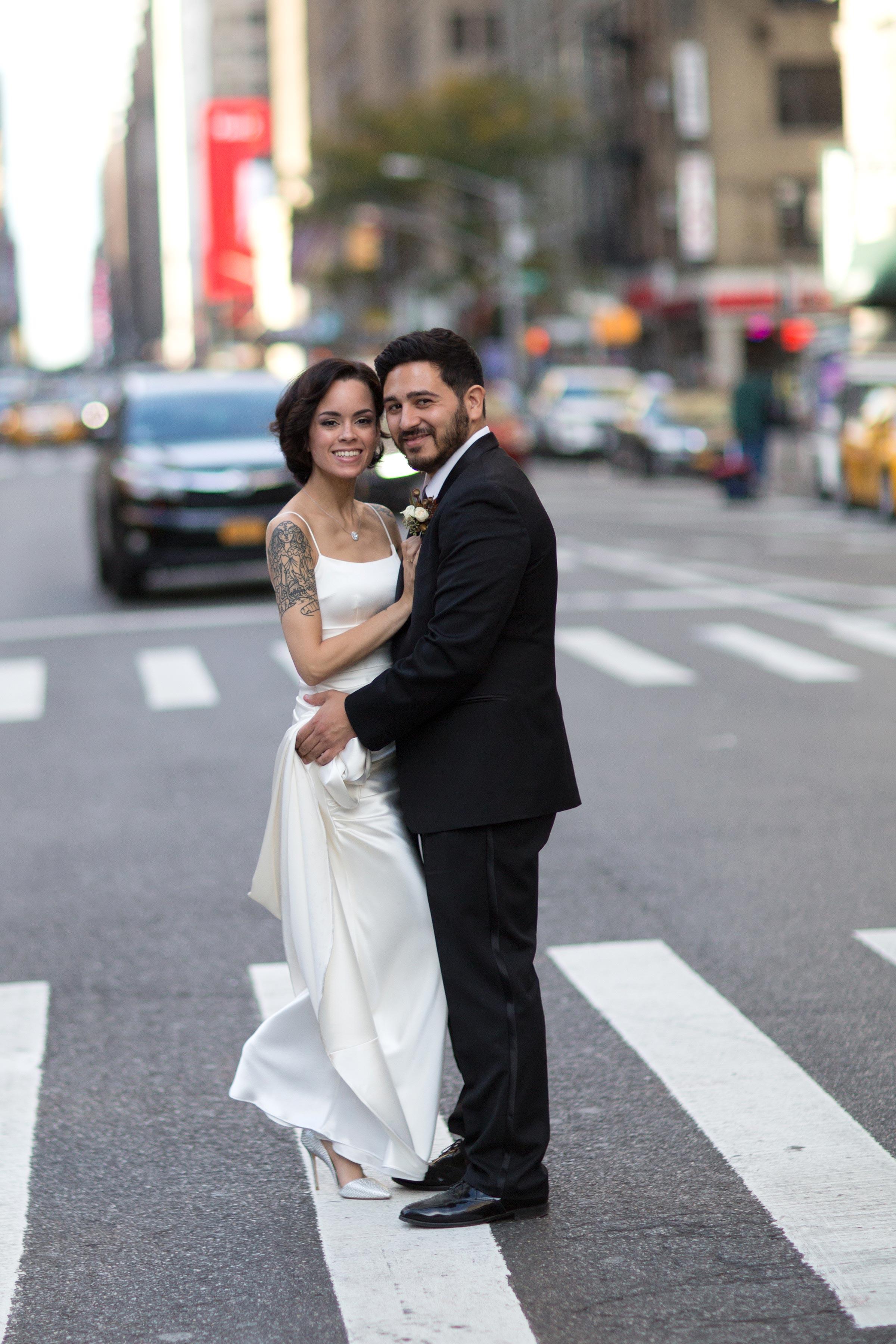 wedding couple portrait street