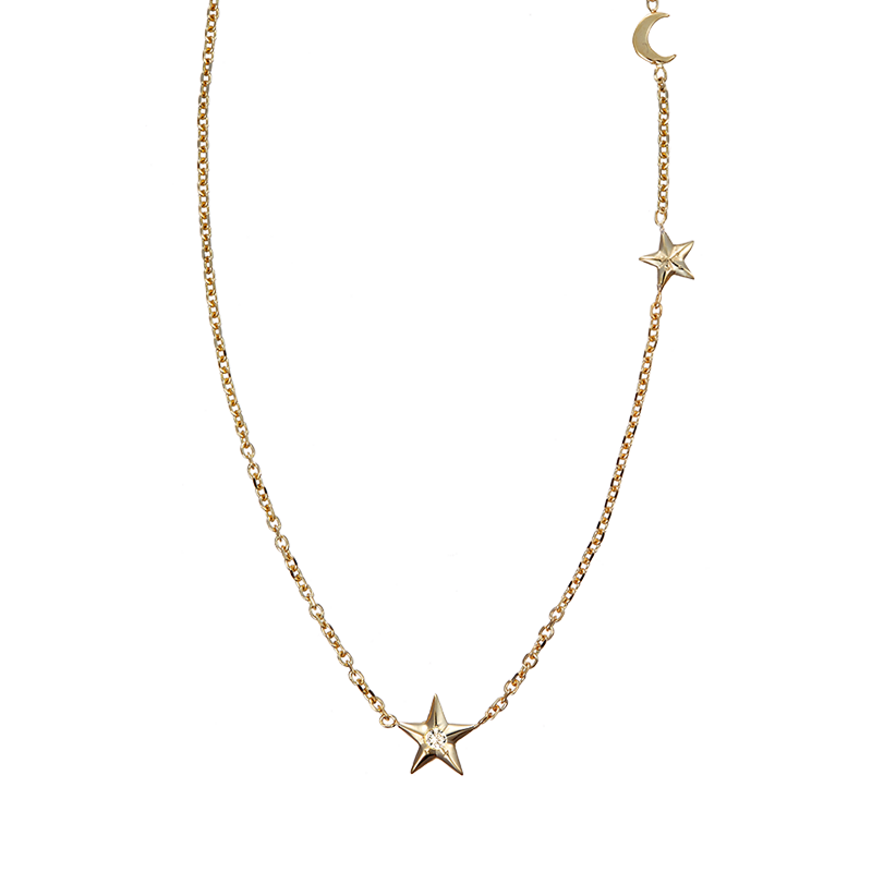 delicate gold necklace with stars Manon