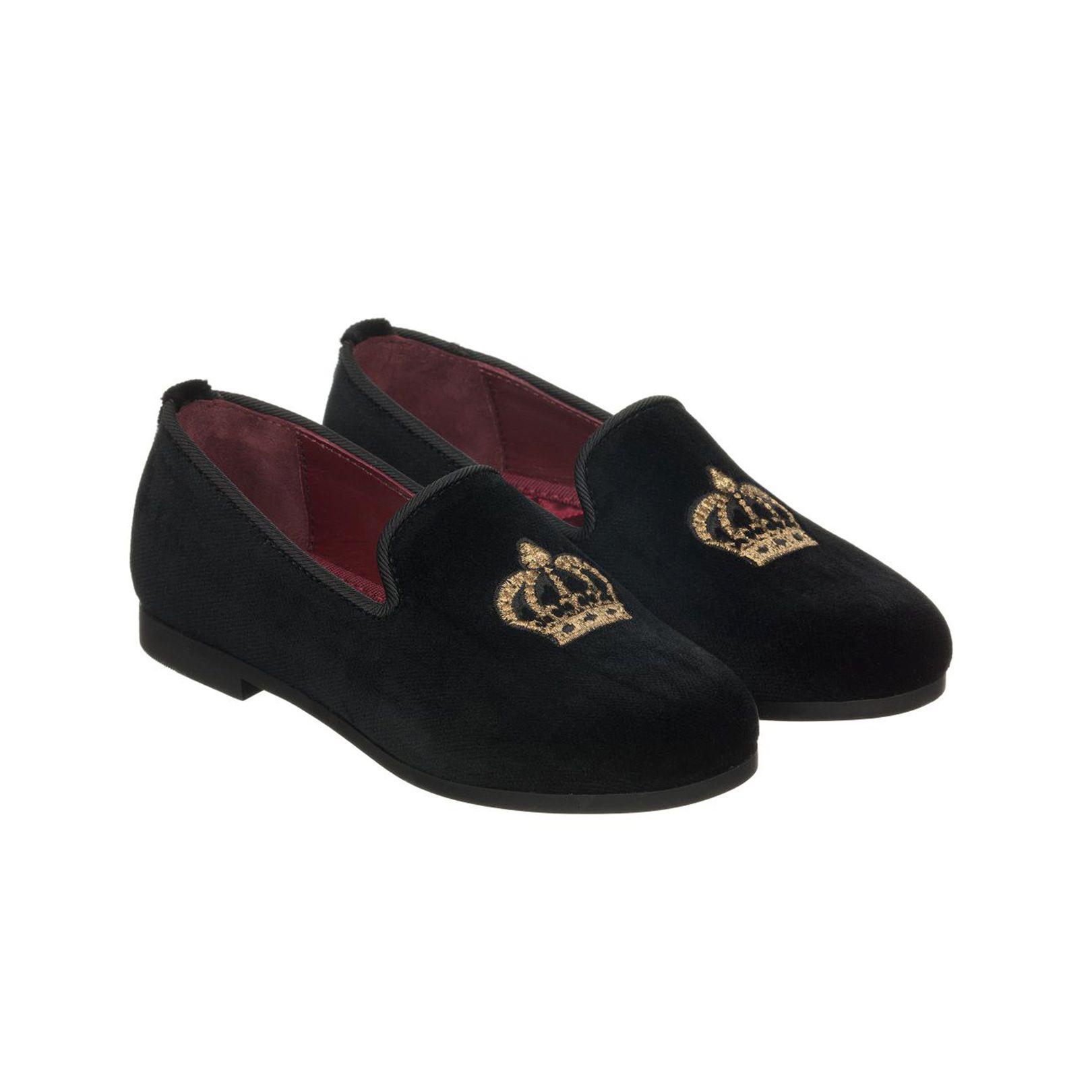 ring bearer shoes black velvet embroidered slippers