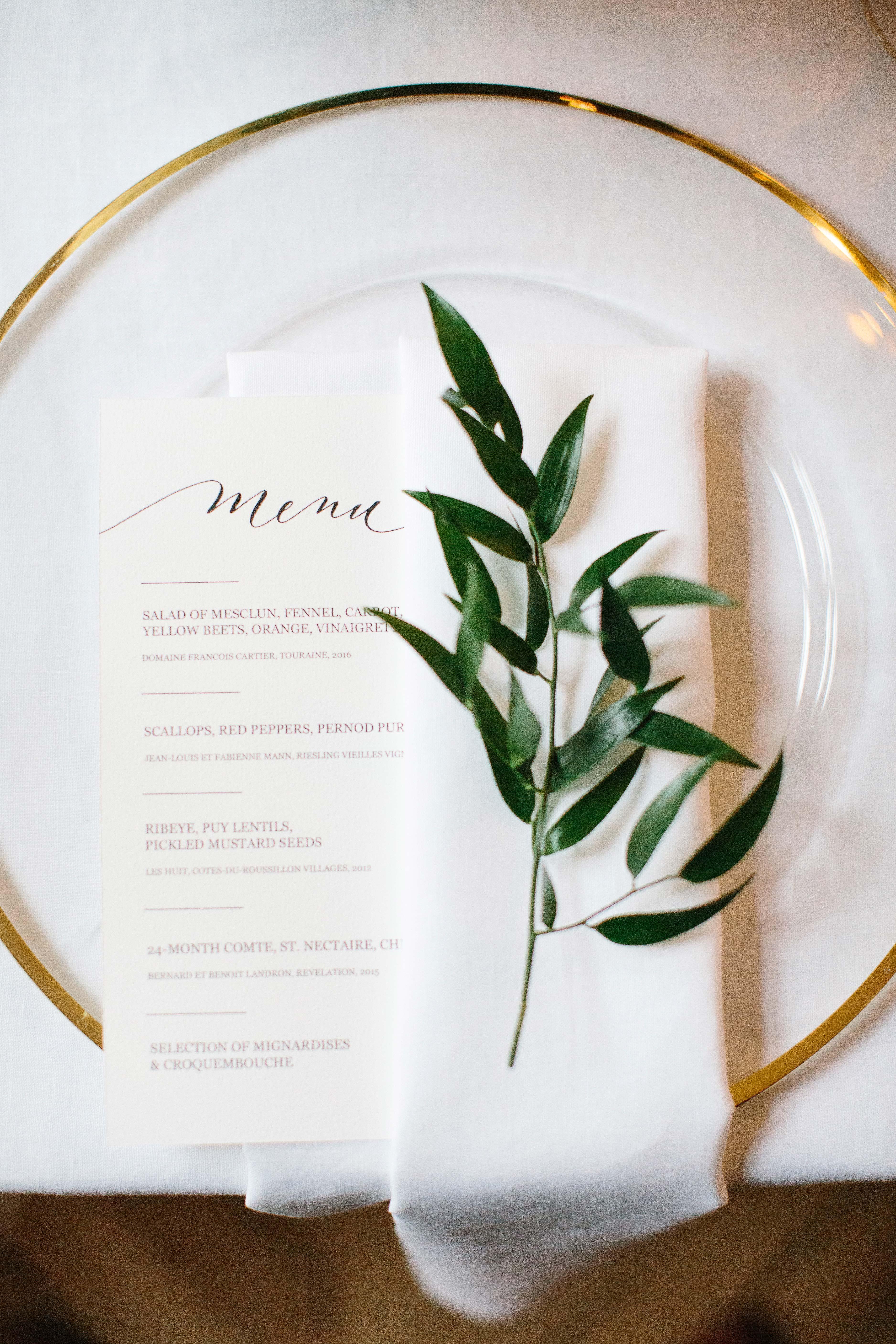 wedding placesetting menu