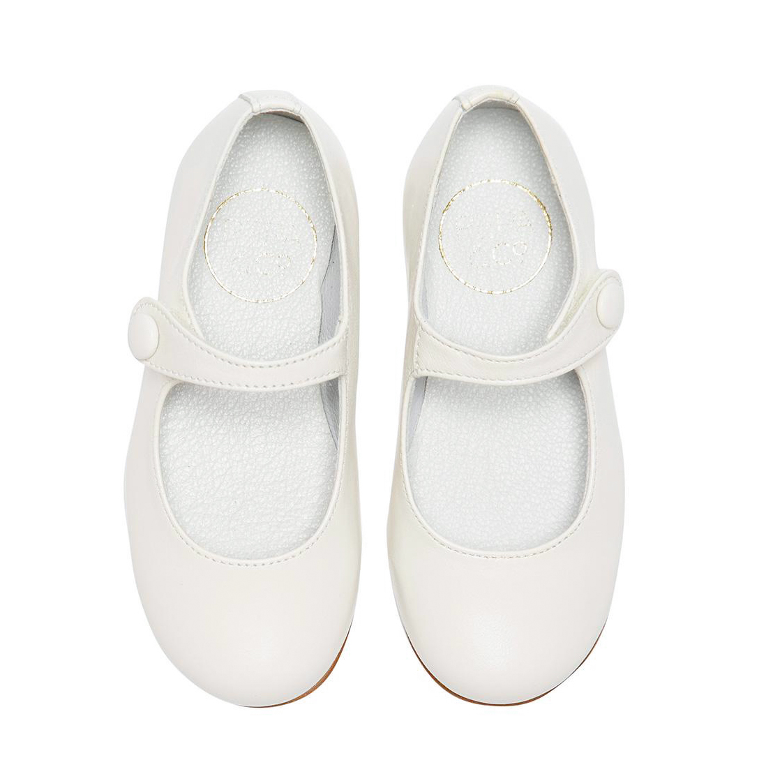 flower girl white leather shoes button strap