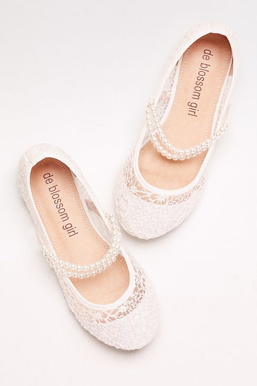 flower girl shoes floral and pearl straps
