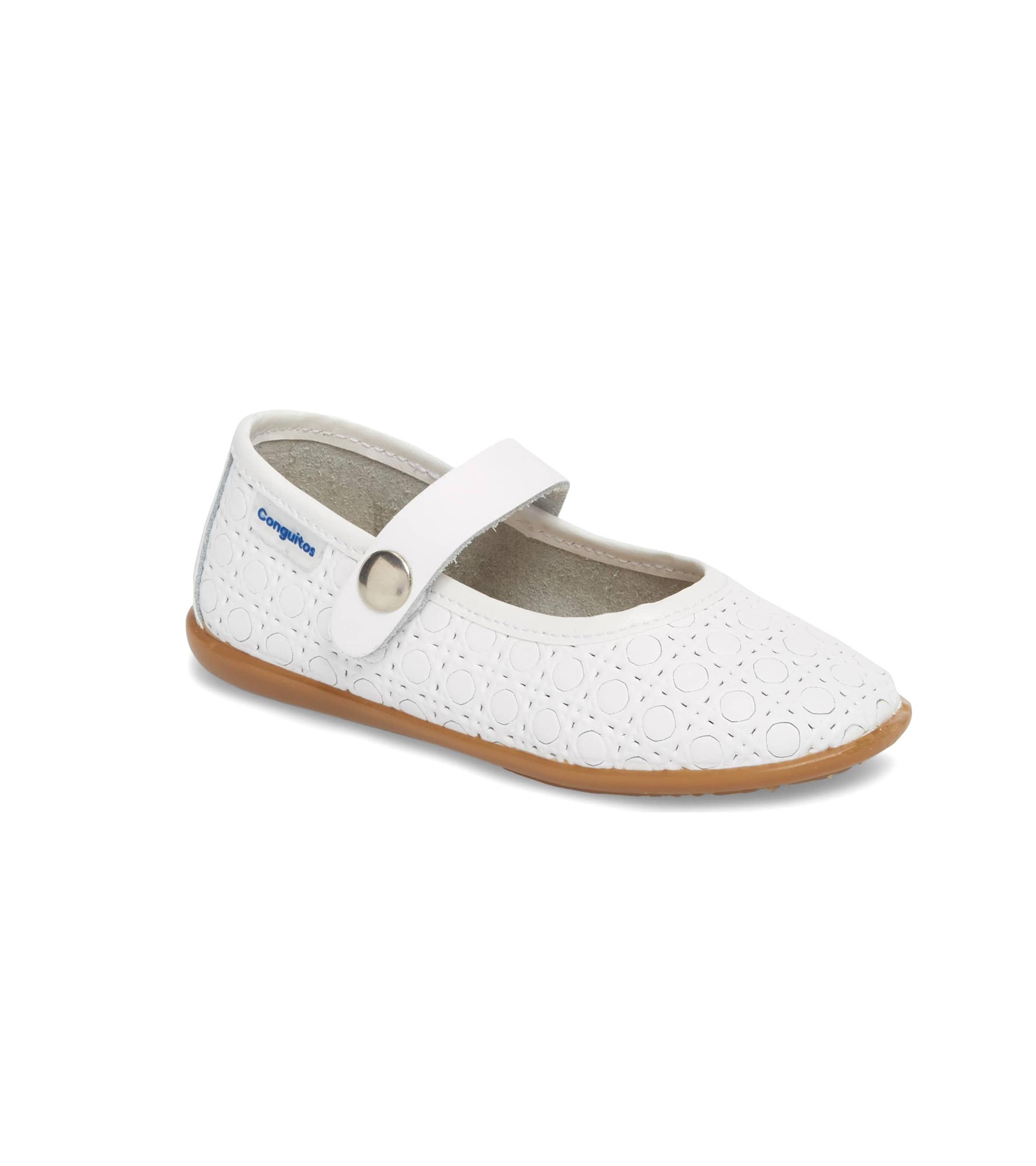 white flower girl shoes geometric pattern