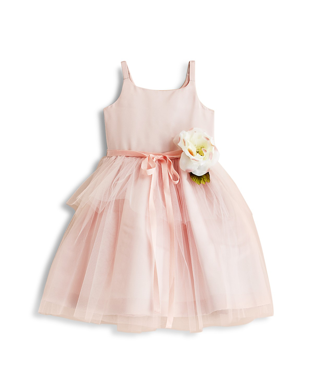 pink flower girl dress ribbon