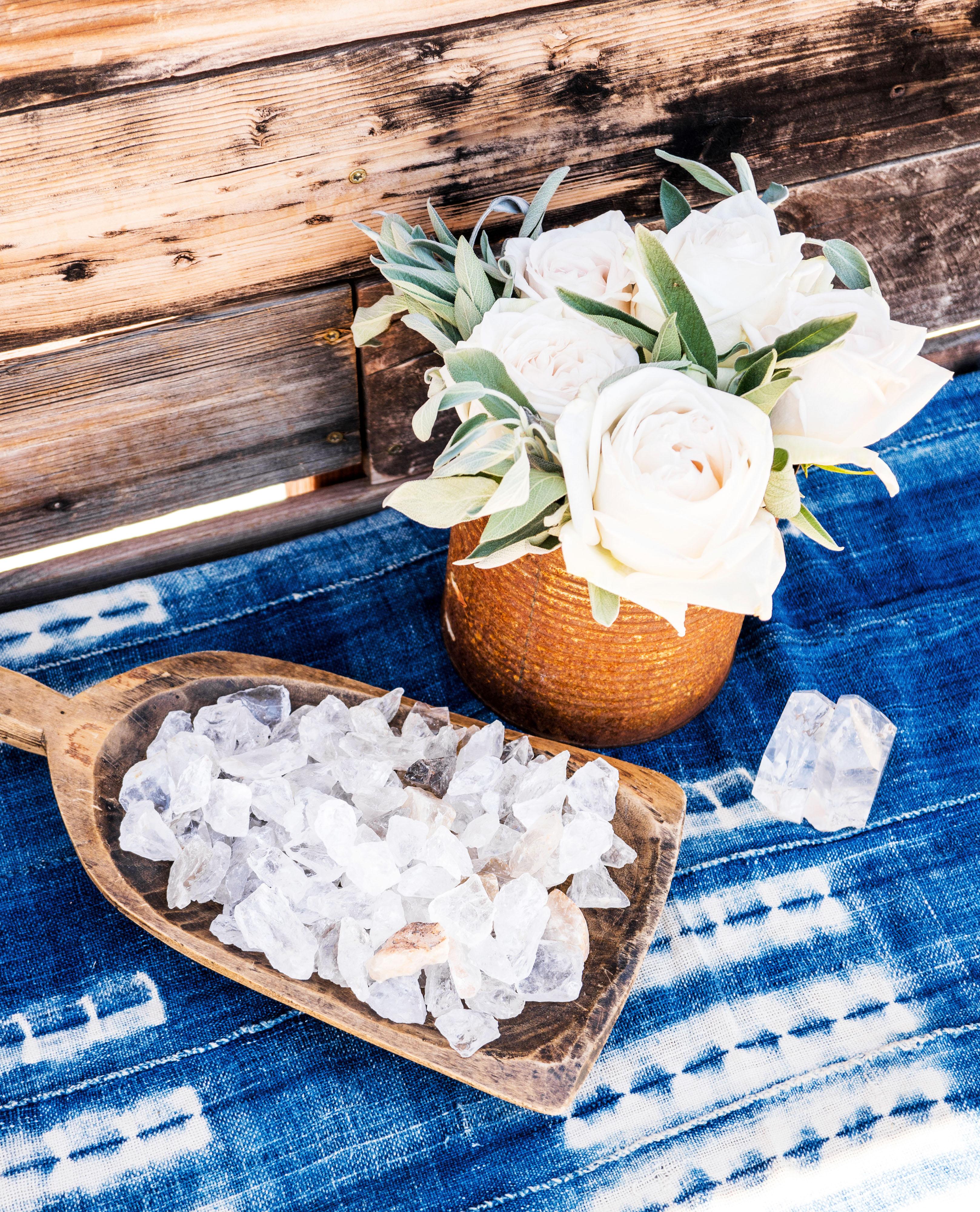 crystal energy table blue white flowers