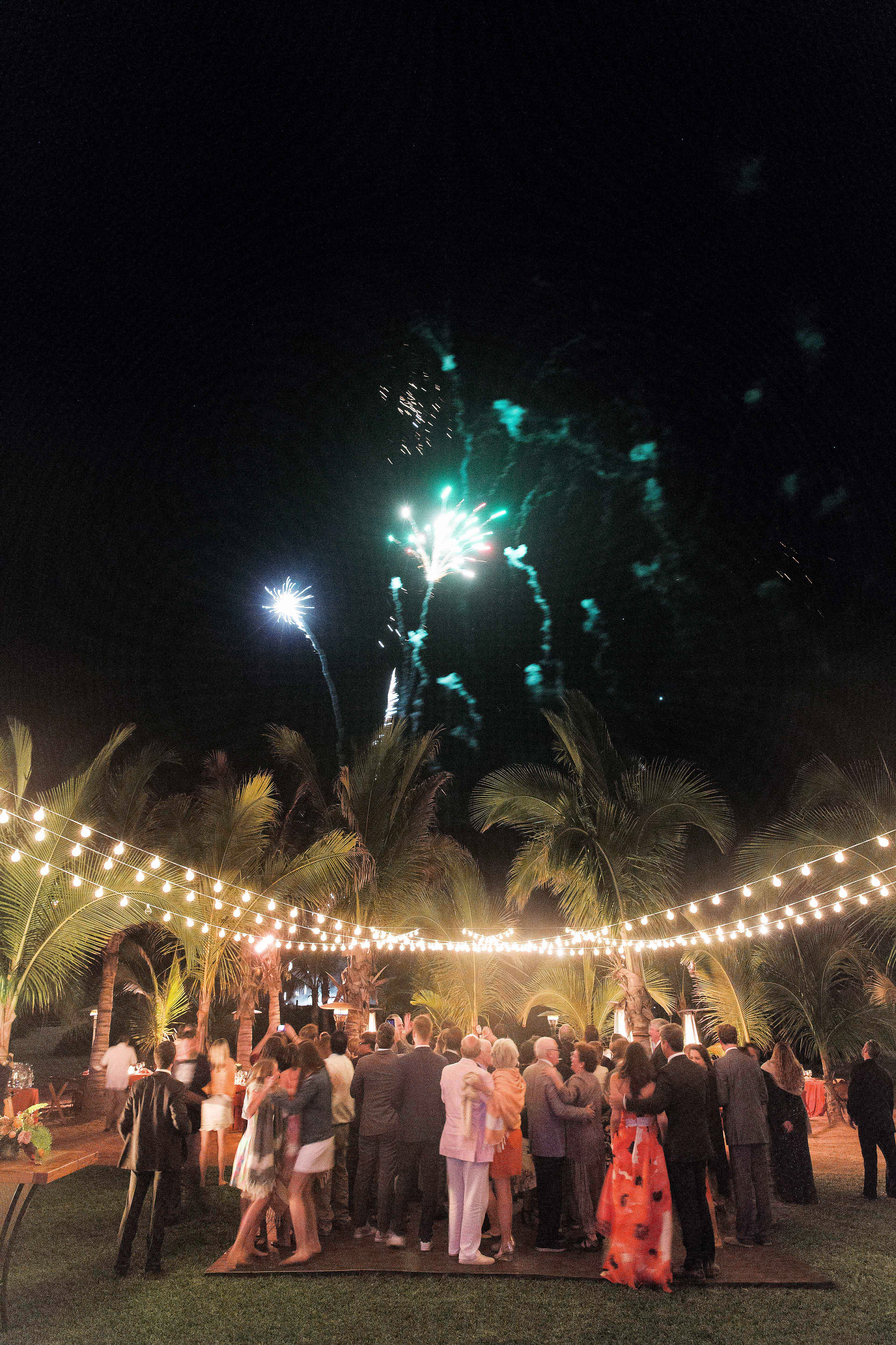 wedding fireworks guests