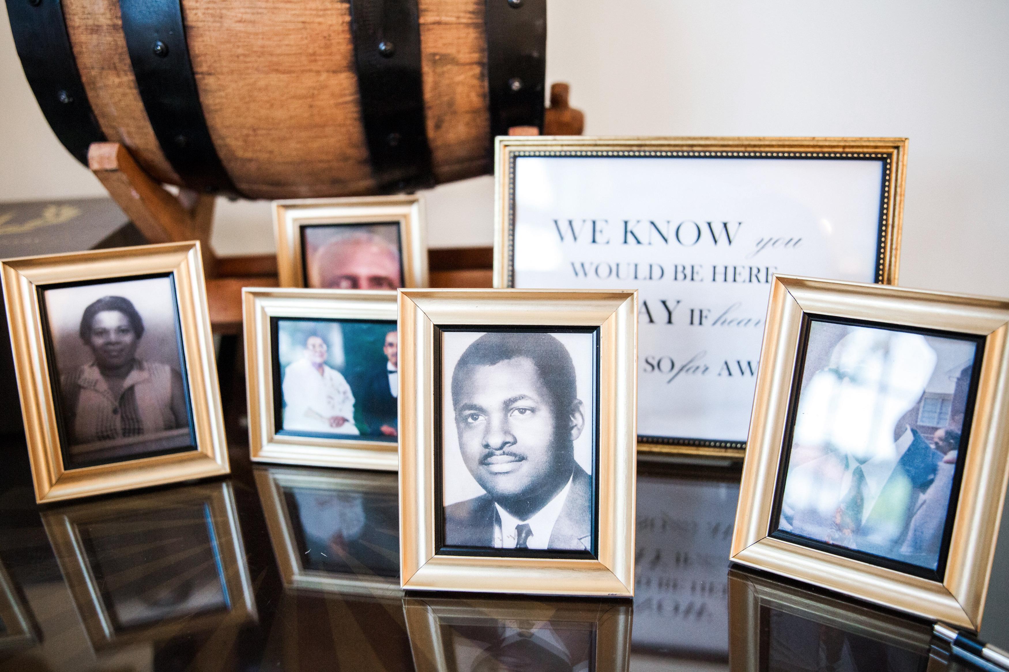 kenisha wendall wedding photo table frames black and white photography
