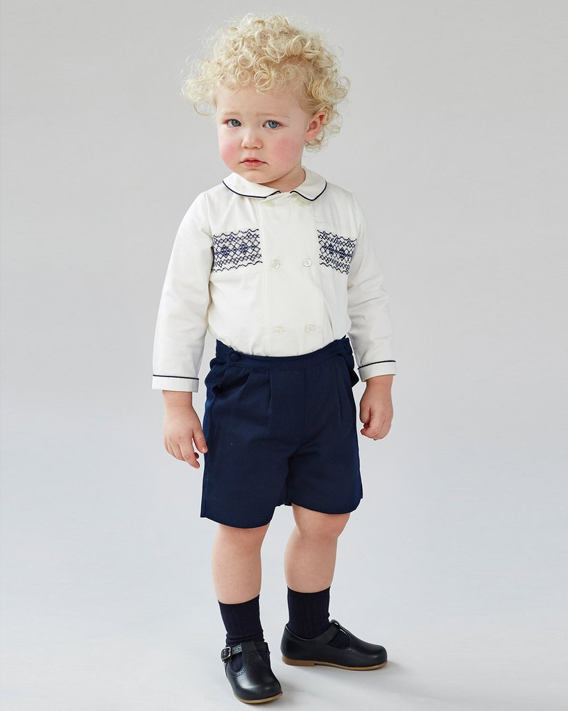 Classic White and Navy Hand-Smocked Shirt and Short Set
