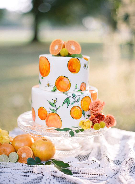orange painted cake