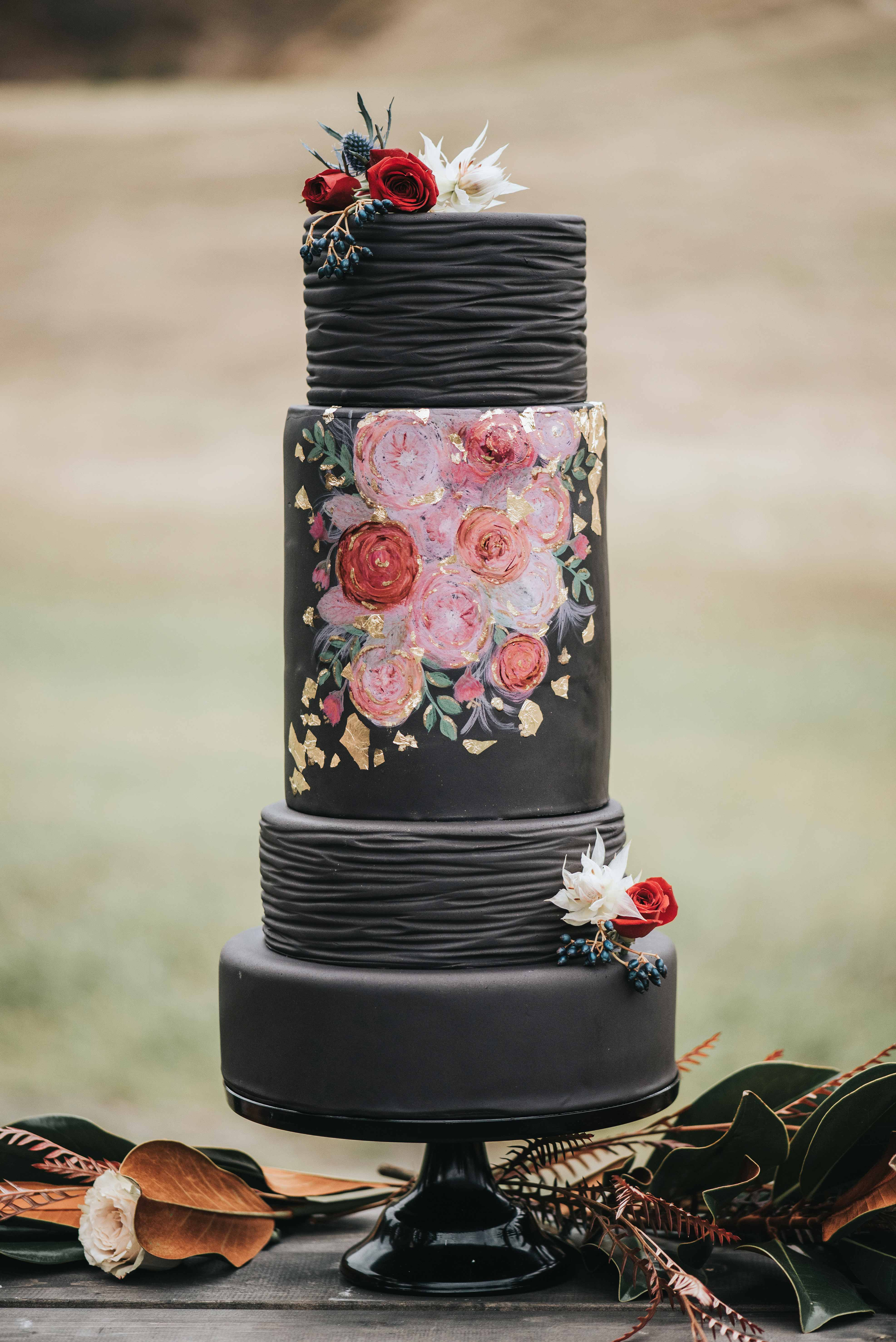 black floral painted cake