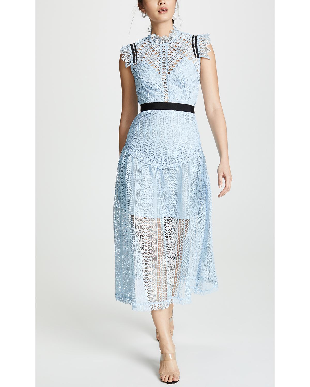 cap sleeve high nick blue lace black belted midi dress