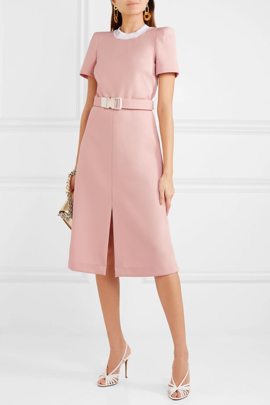 pink front slit belted midi dress