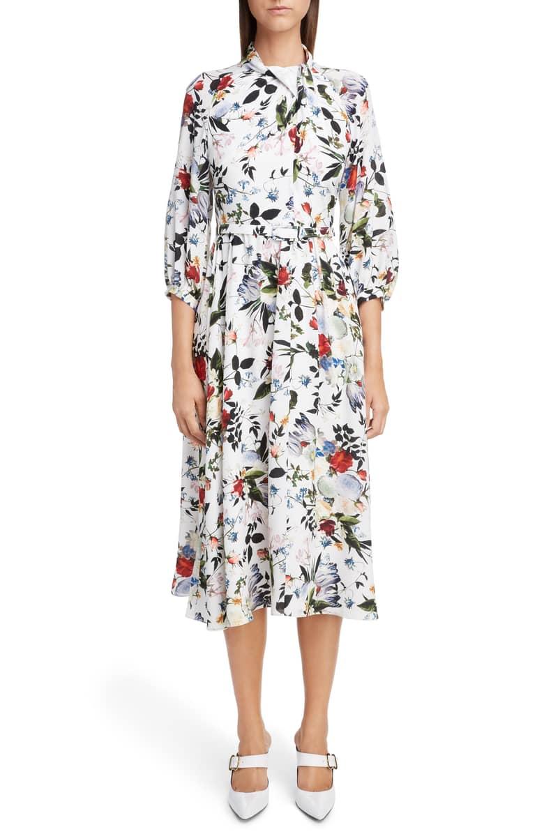 floral print white three quarter sleeve midi dress