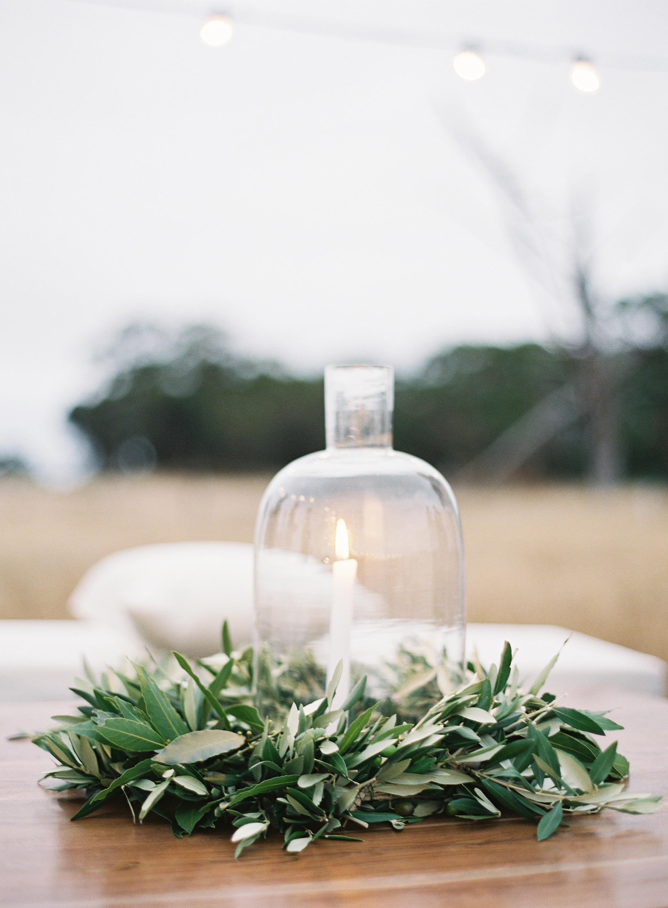 cloche candle greenery centerpiece