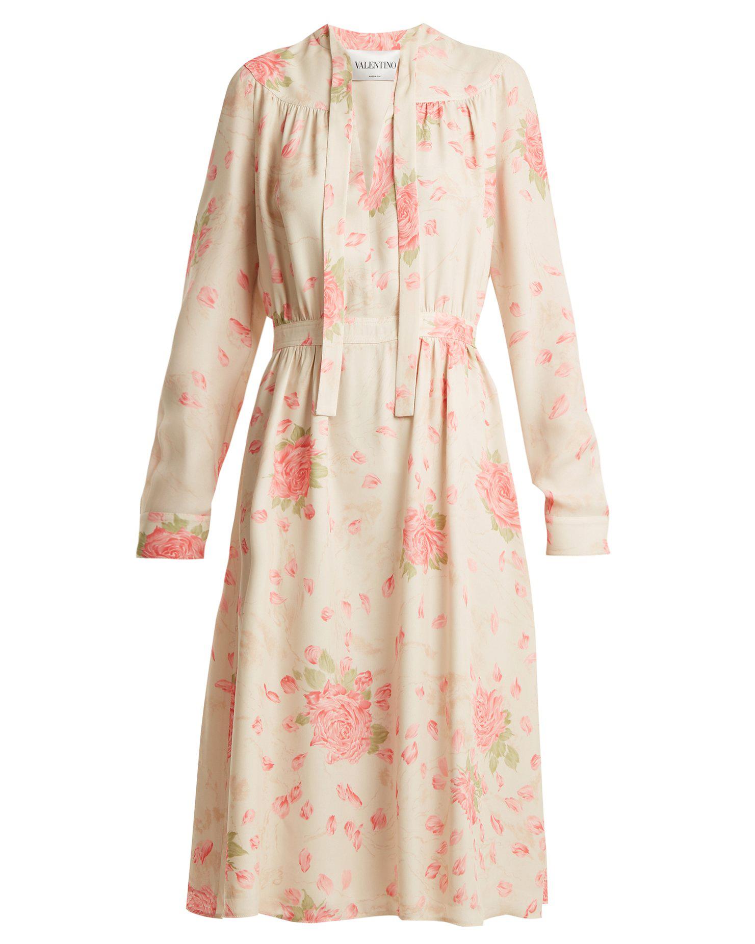 Valentino Rose-Print Dress