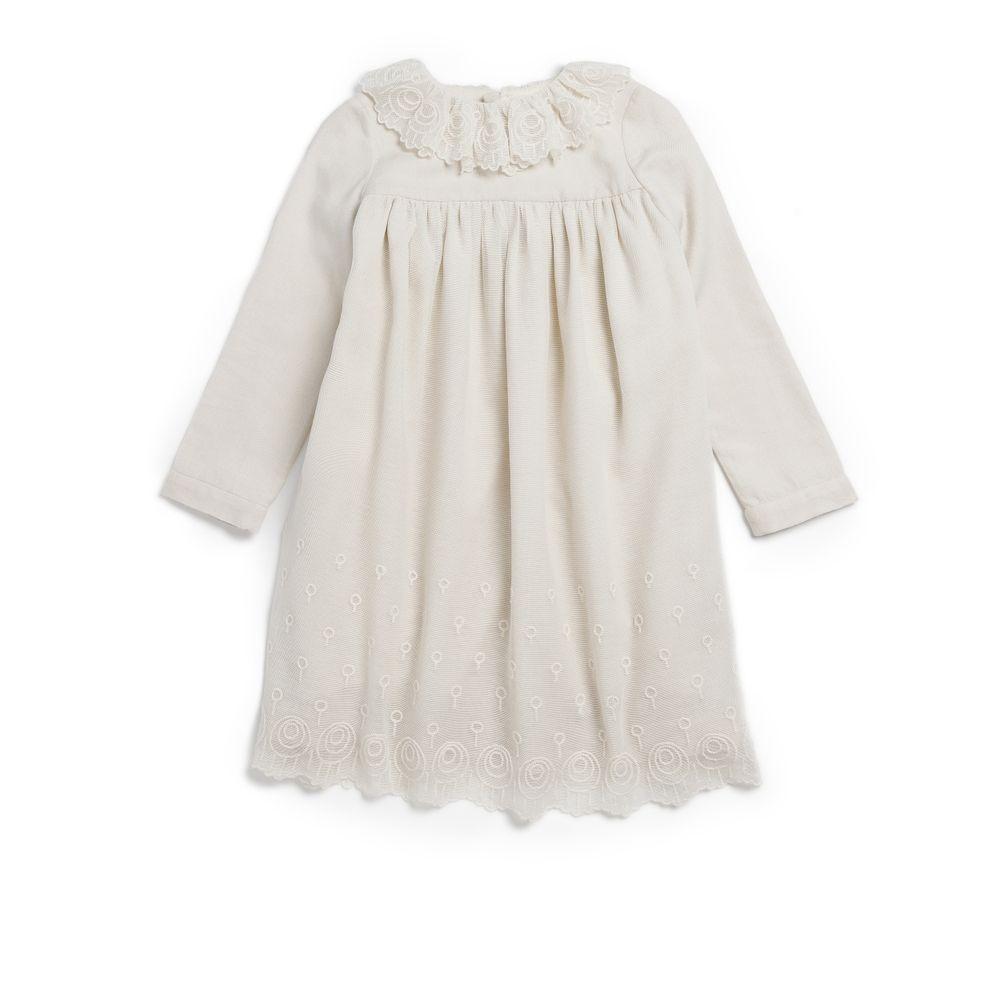 off-white ruffled collar flower girl dress