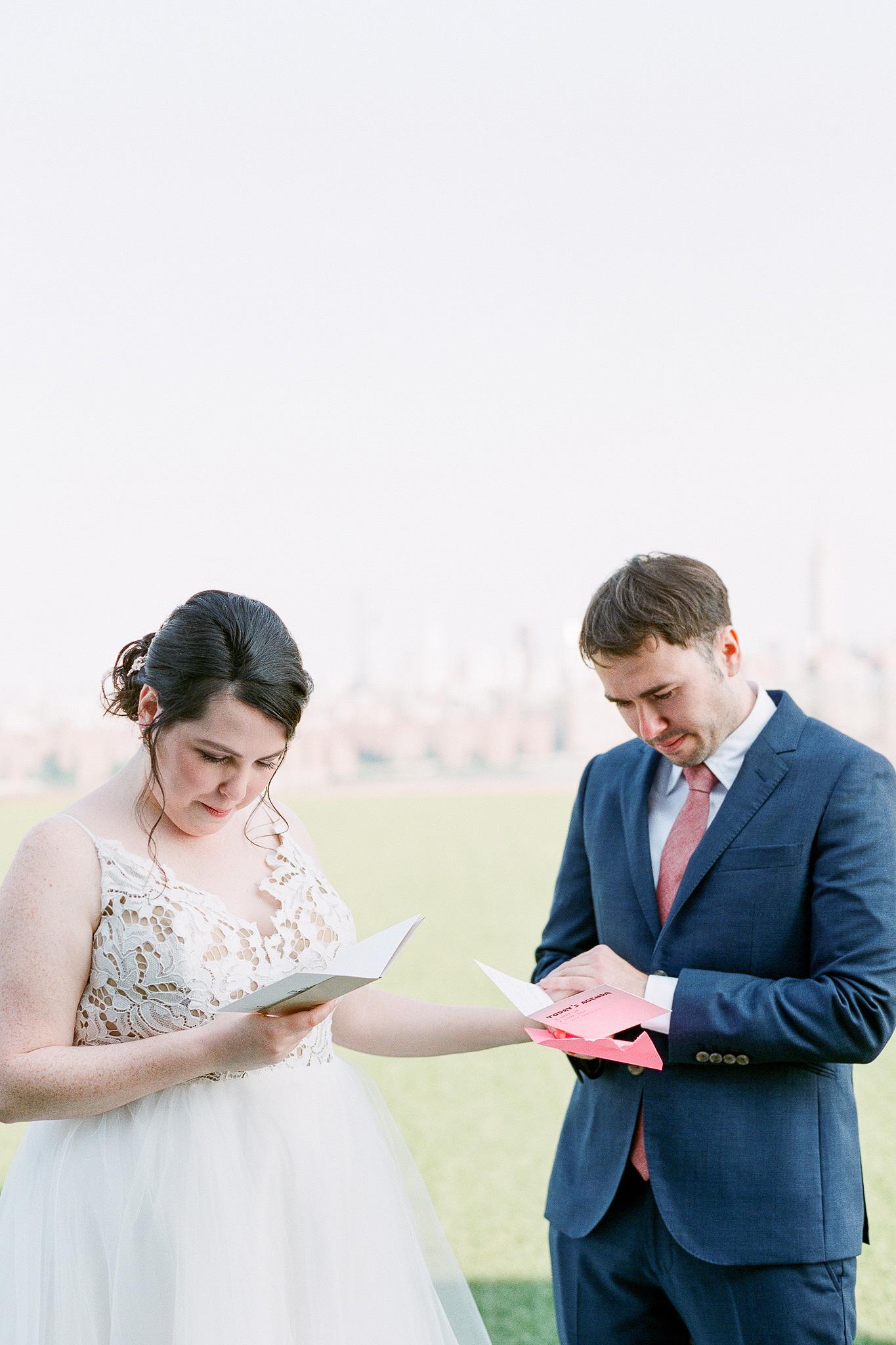bride groom reading letters