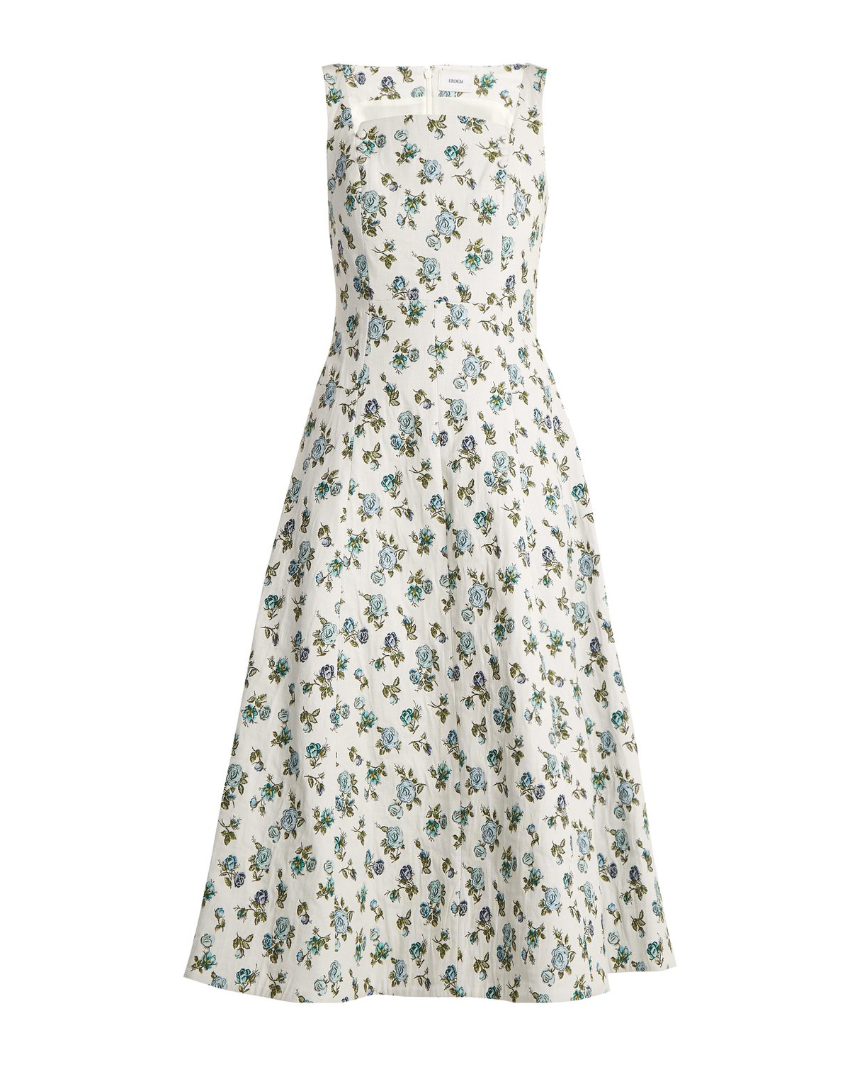 short white and blue floral engagement party dress