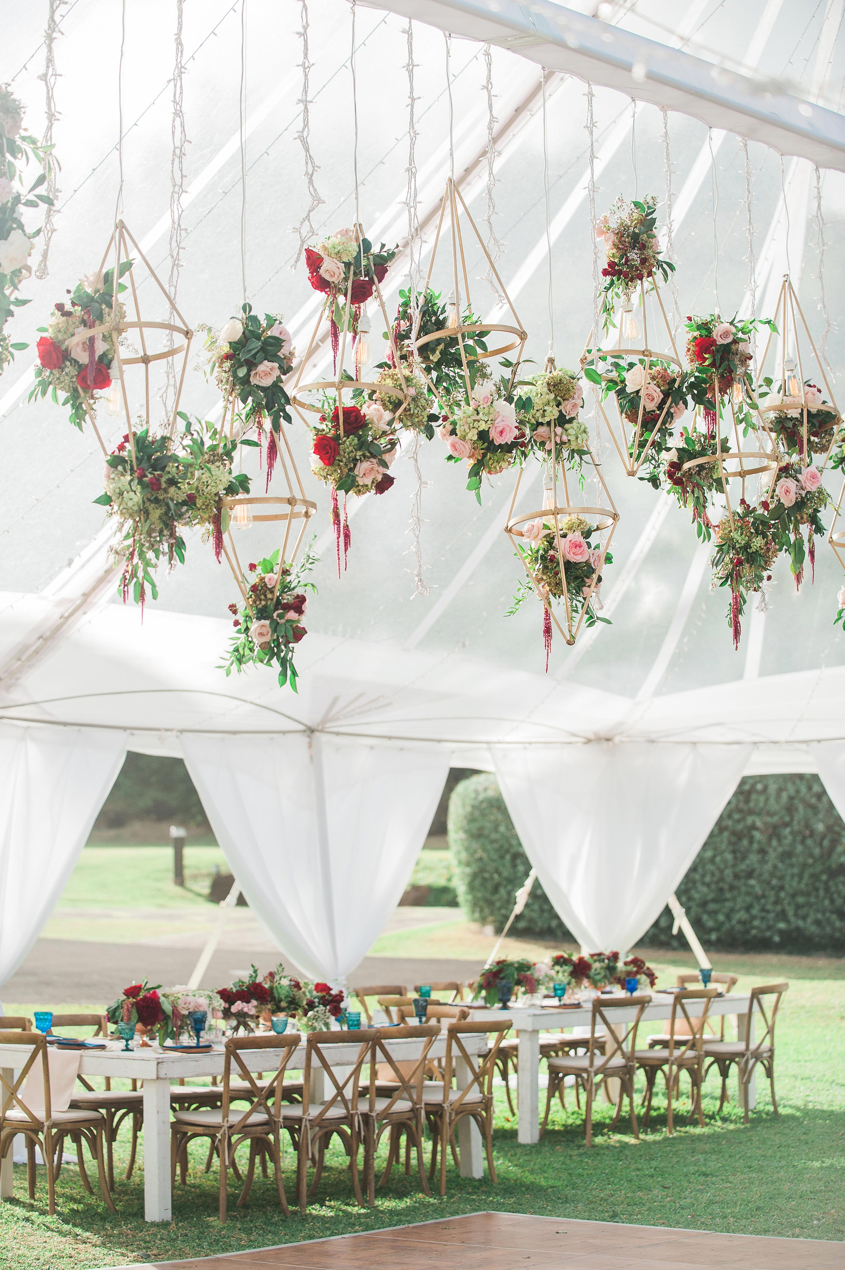 hanging floral reception decorations