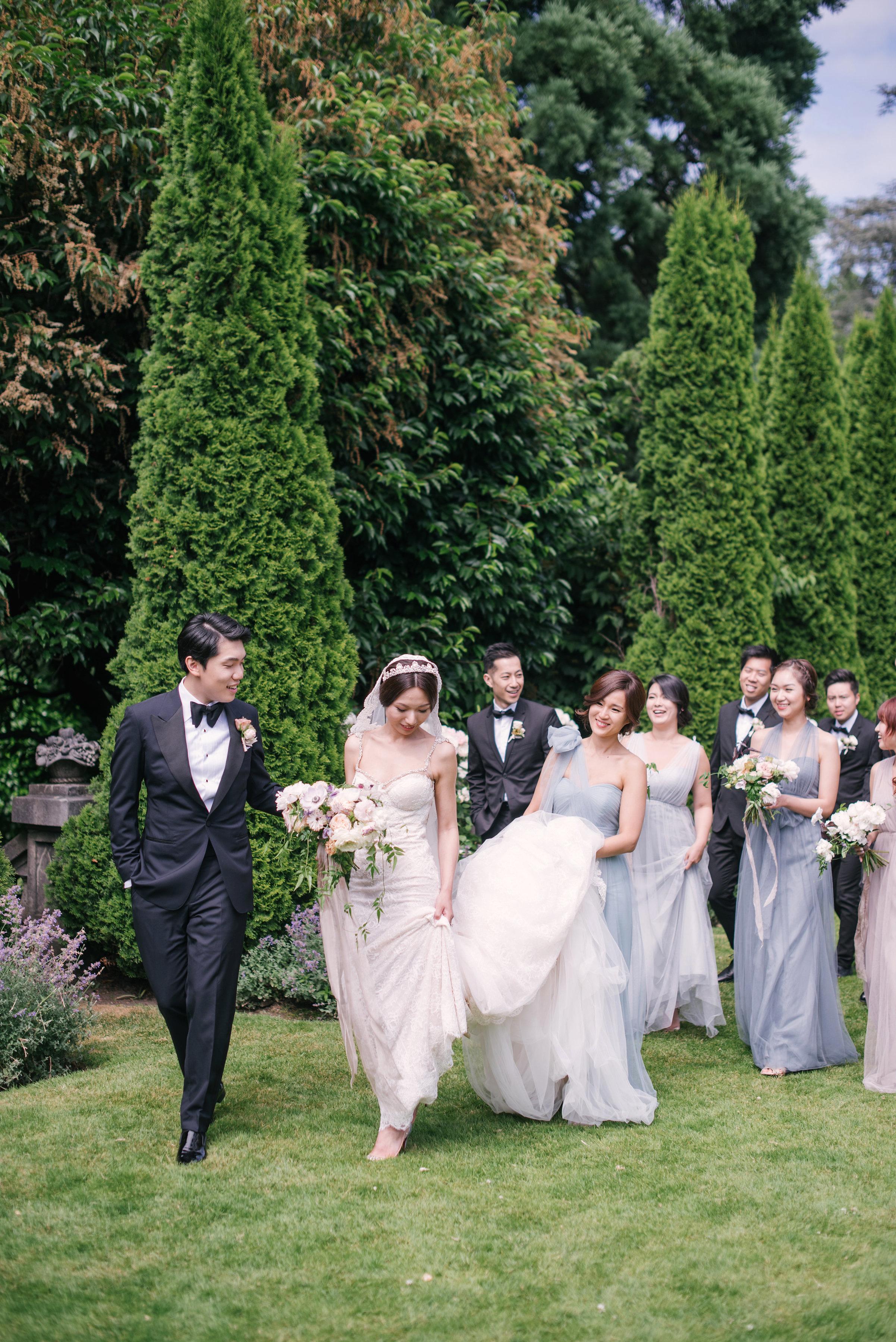 gloria zee wedding bridal party carrying train