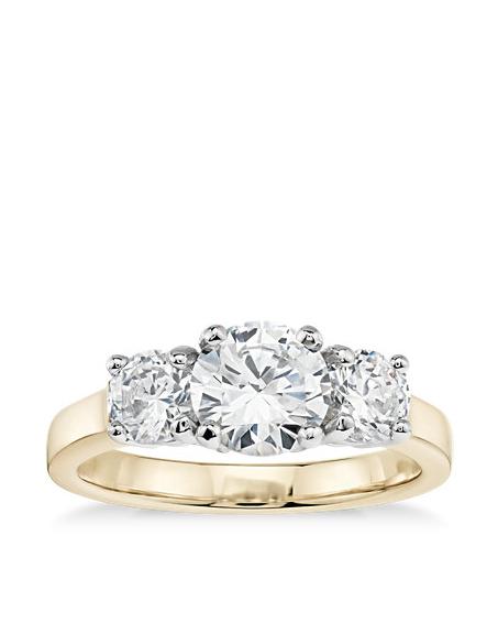 three stone ring gold band