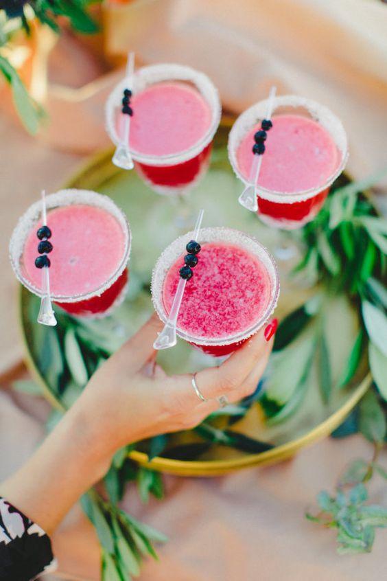 frozen pink wedding cocktail