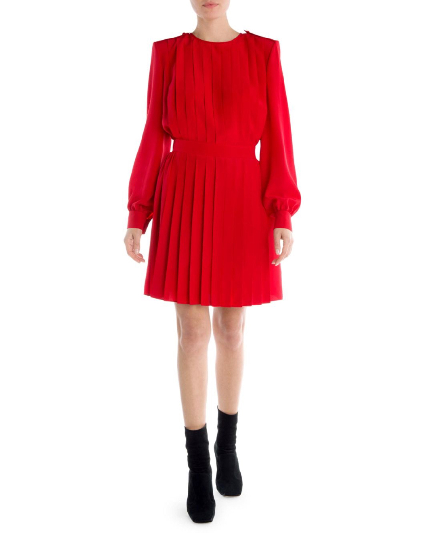 Red Fendi Pleated Crepe de Chine Dress