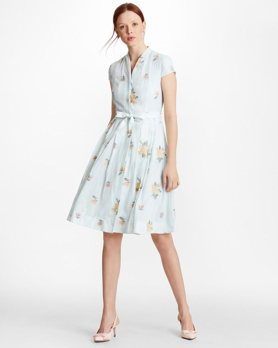 Brooks Brothers Floral-Embroidered Striped Cotton Silk Dress