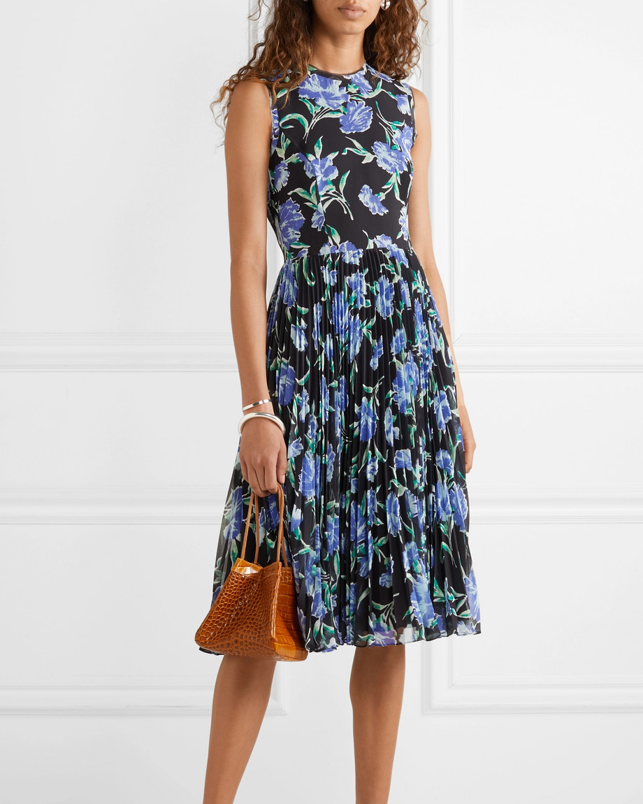 Jason Wu Collection Pleated Floral-Print Chiffon Midi Dress