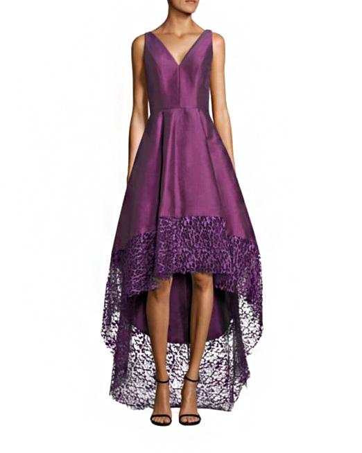 Monique Lhuillier V-Neck Hi-Low Dress
