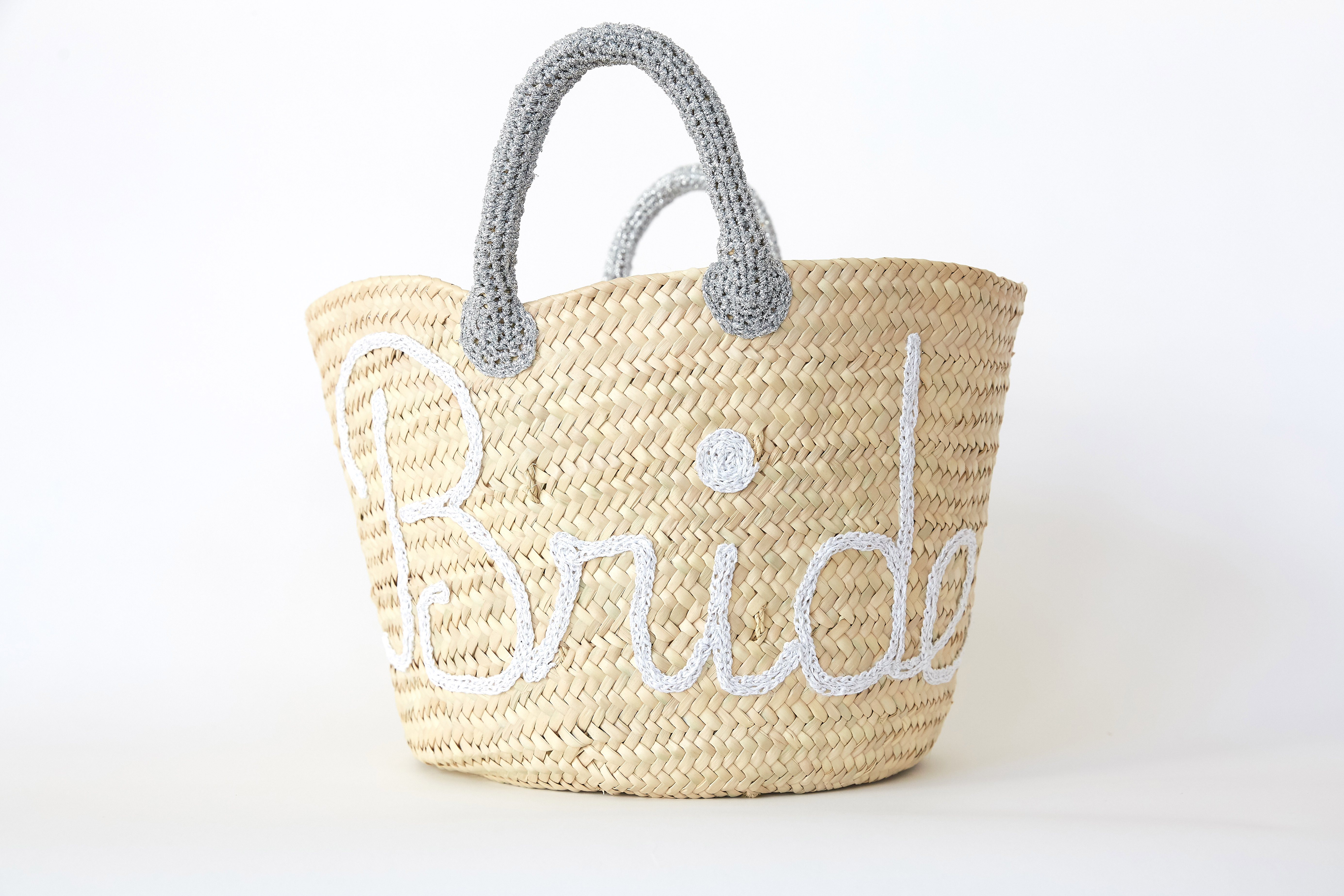 "Straw Tote Bag with ""Bride"" Detail"