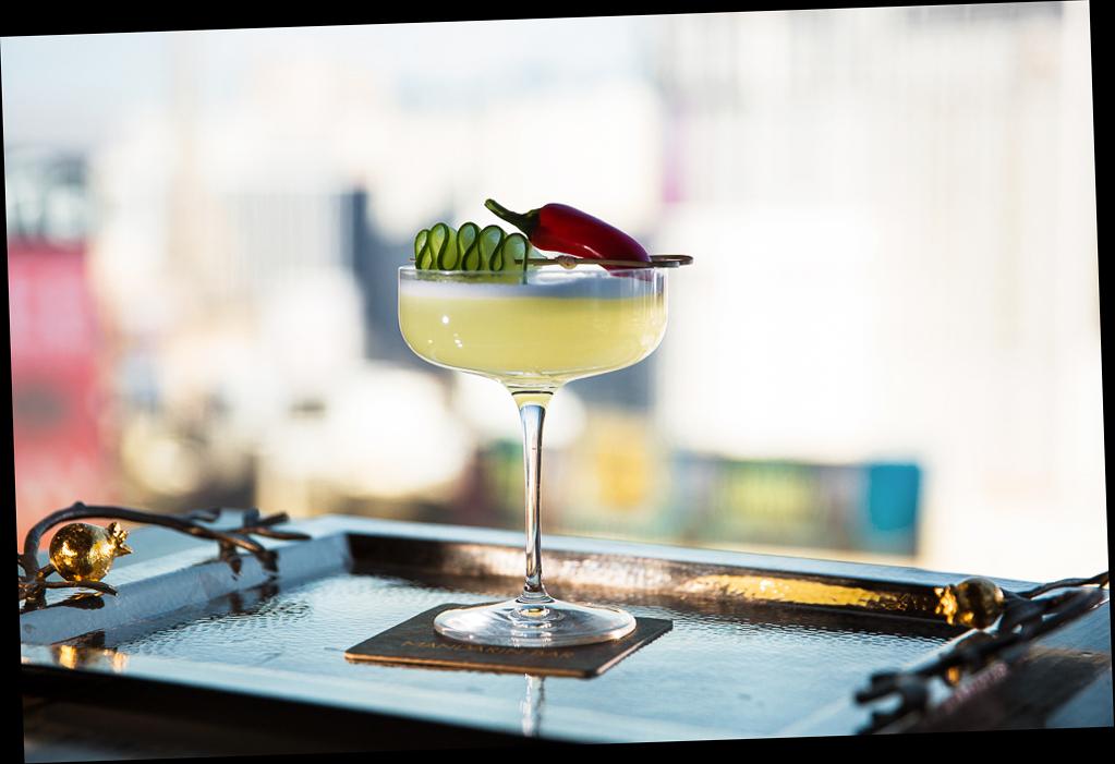 cocktails el conquistador red pepper tray glass garnish