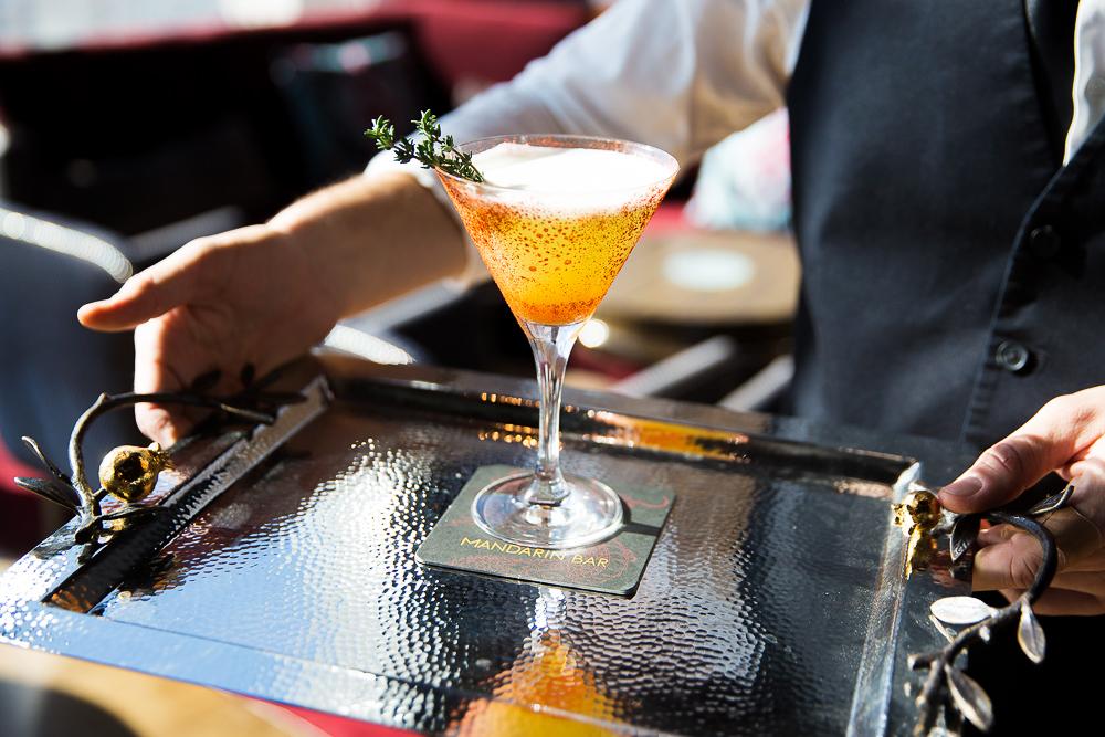 cocktails curious garden martini glass tray bartender