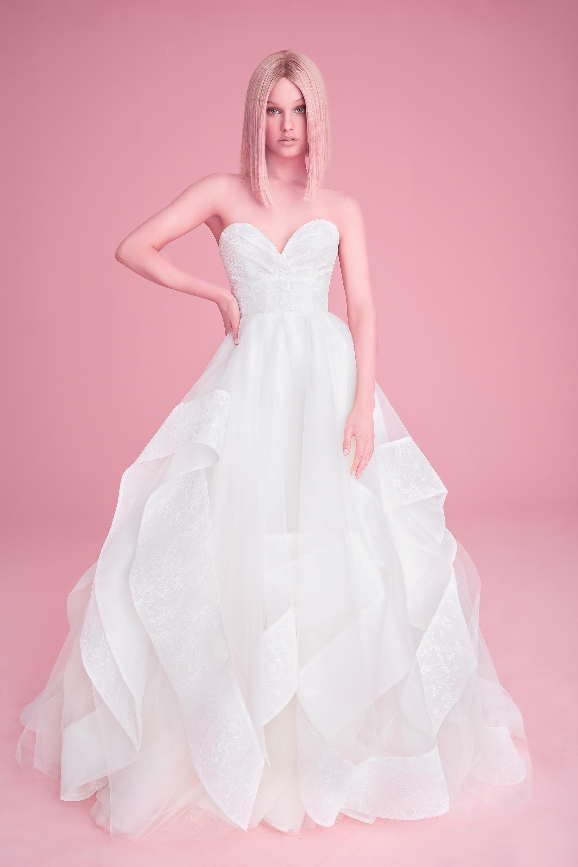 hayley paige wedding dress spring 2019 sweetheart neckline ruffled skirt
