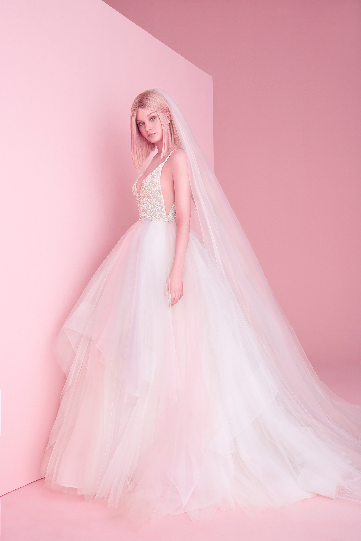 hayley paige wedding dress spring 2019 beaded bodice layered skirt