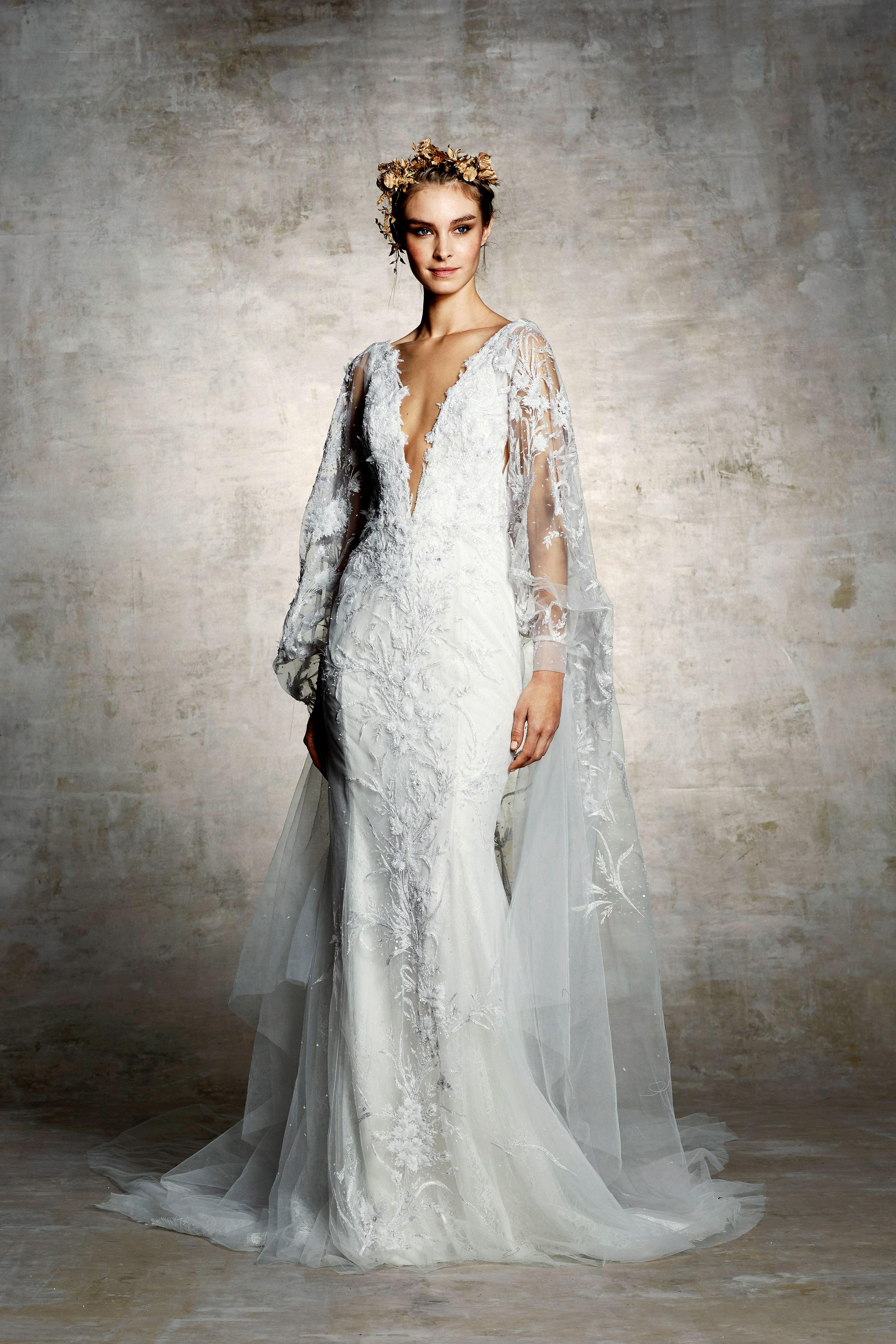 marchesa bridal wedding dress deep v long sleeves tulle