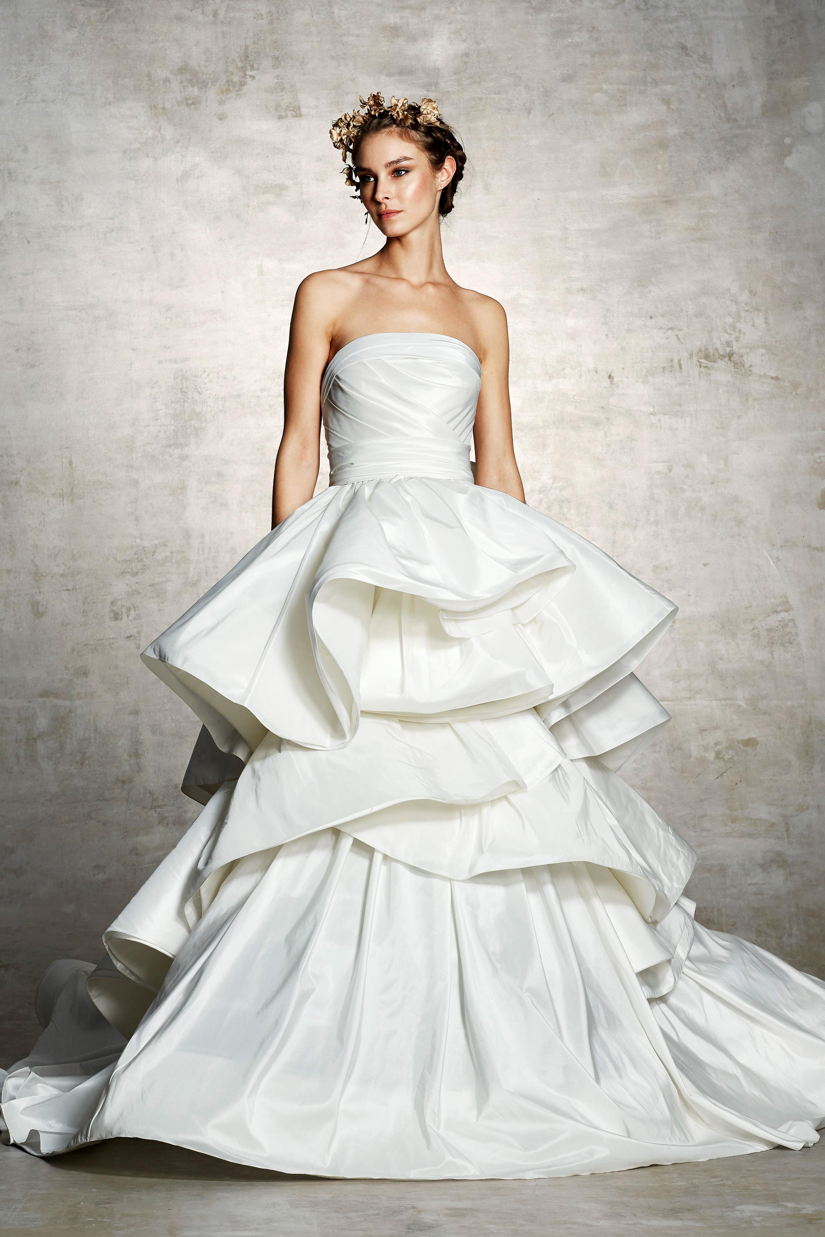 marchesa bridal wedding dress strapless ruffles layers