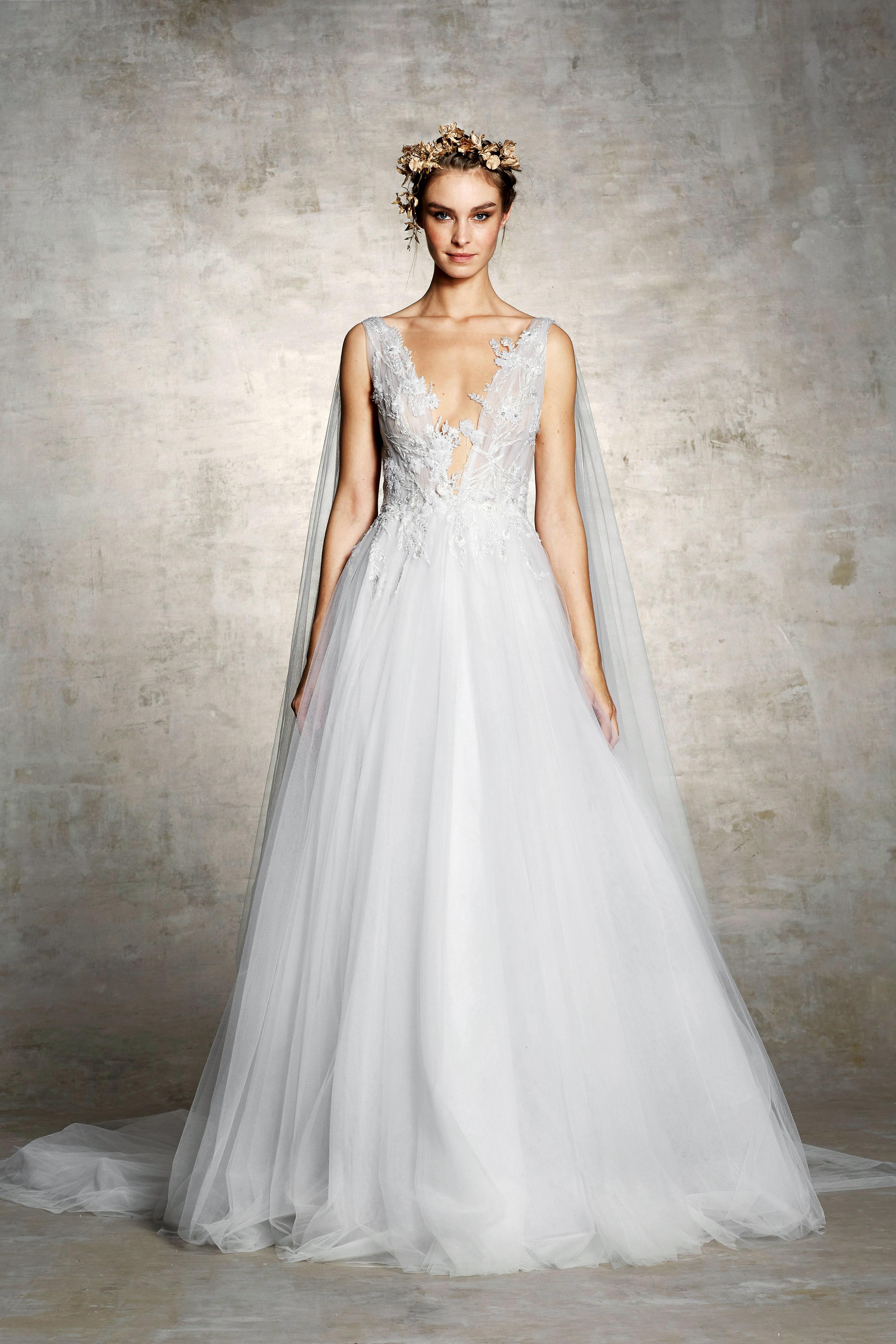 marchesa bridal wedding dress tulle deep v sleeveless