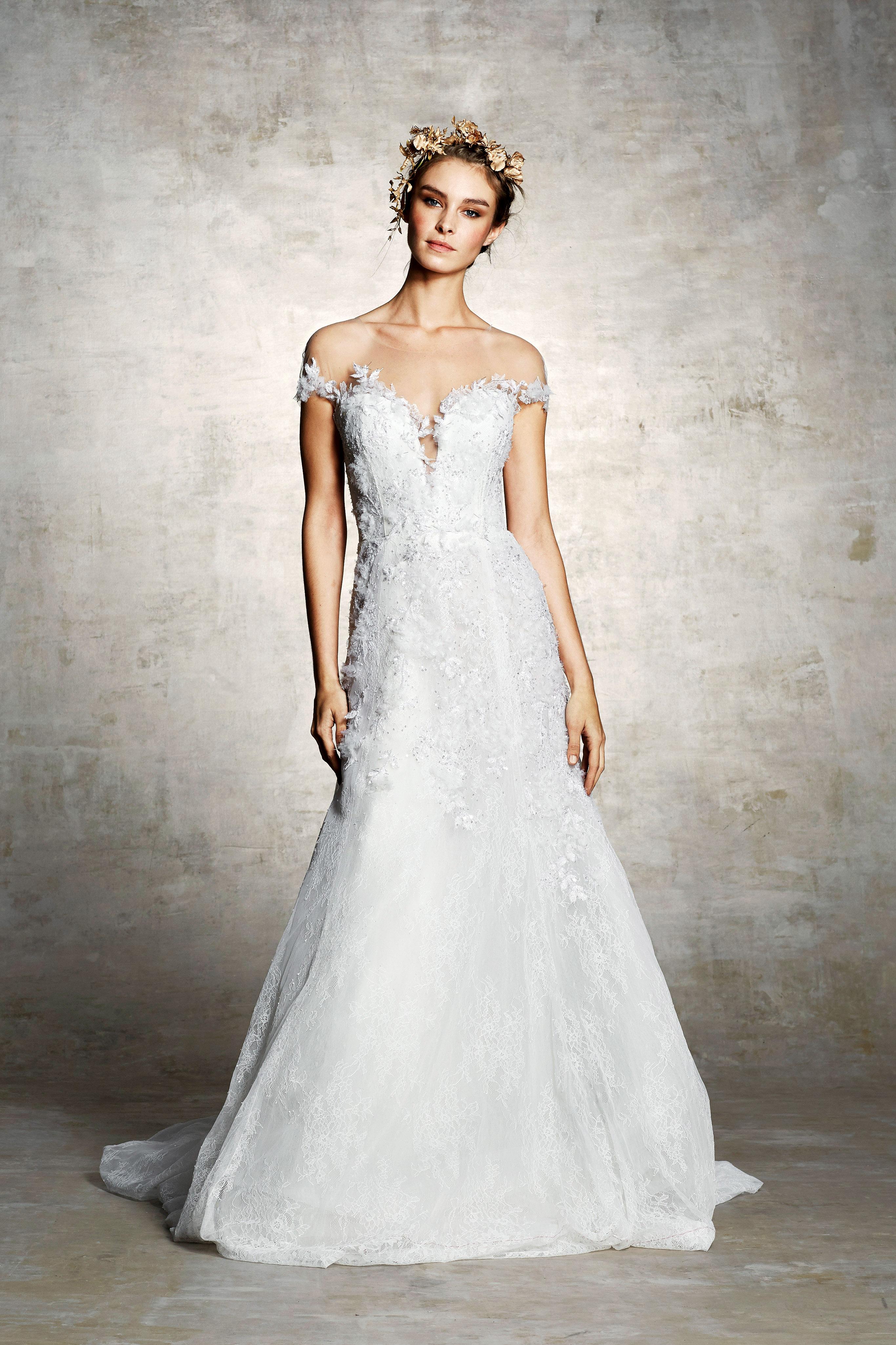 marchesa bridal wedding dress off the shoulder a-line floral embroidery