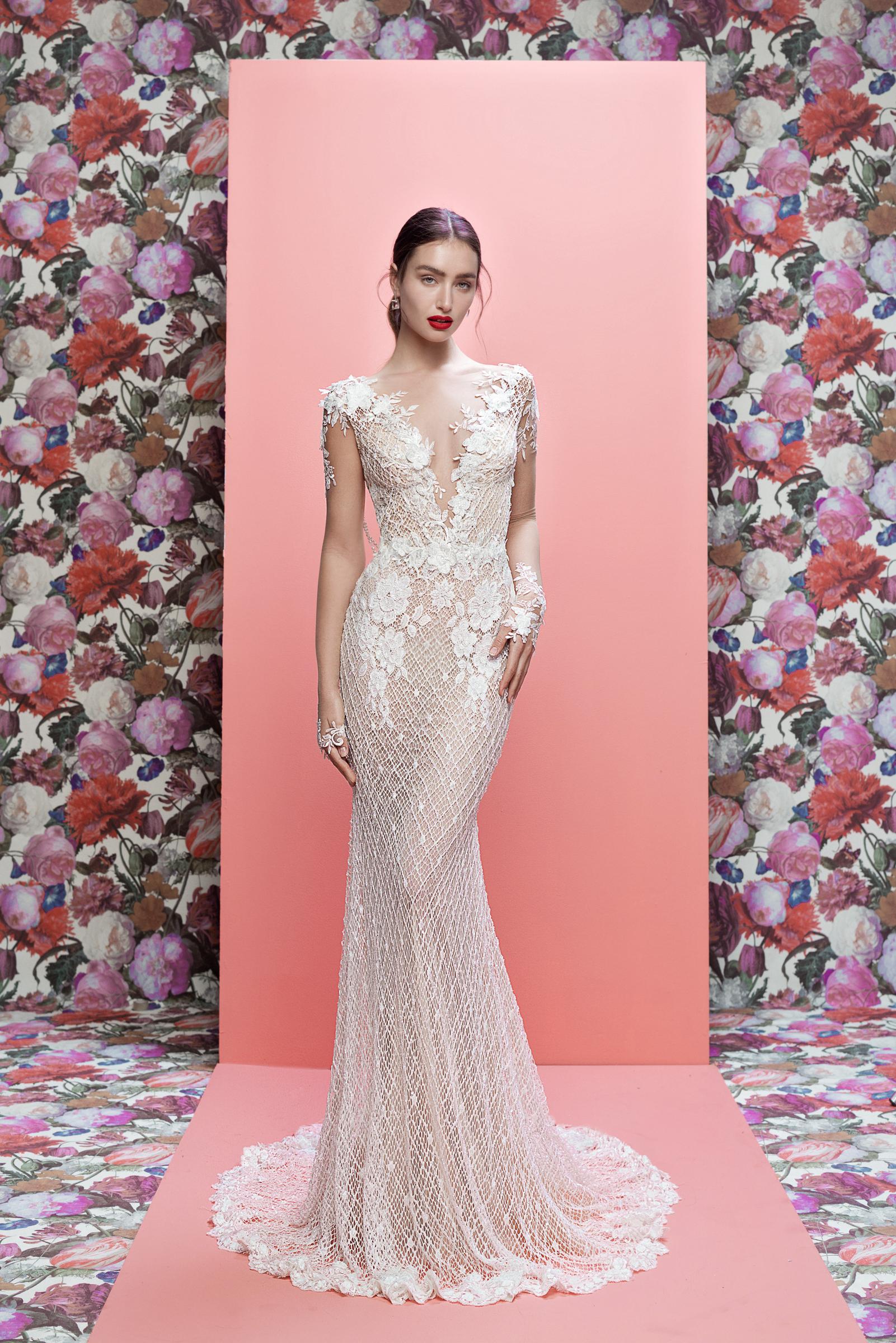 Galia Lahav wedding dress spring 2019 lace cap sleeve v-neck sheath