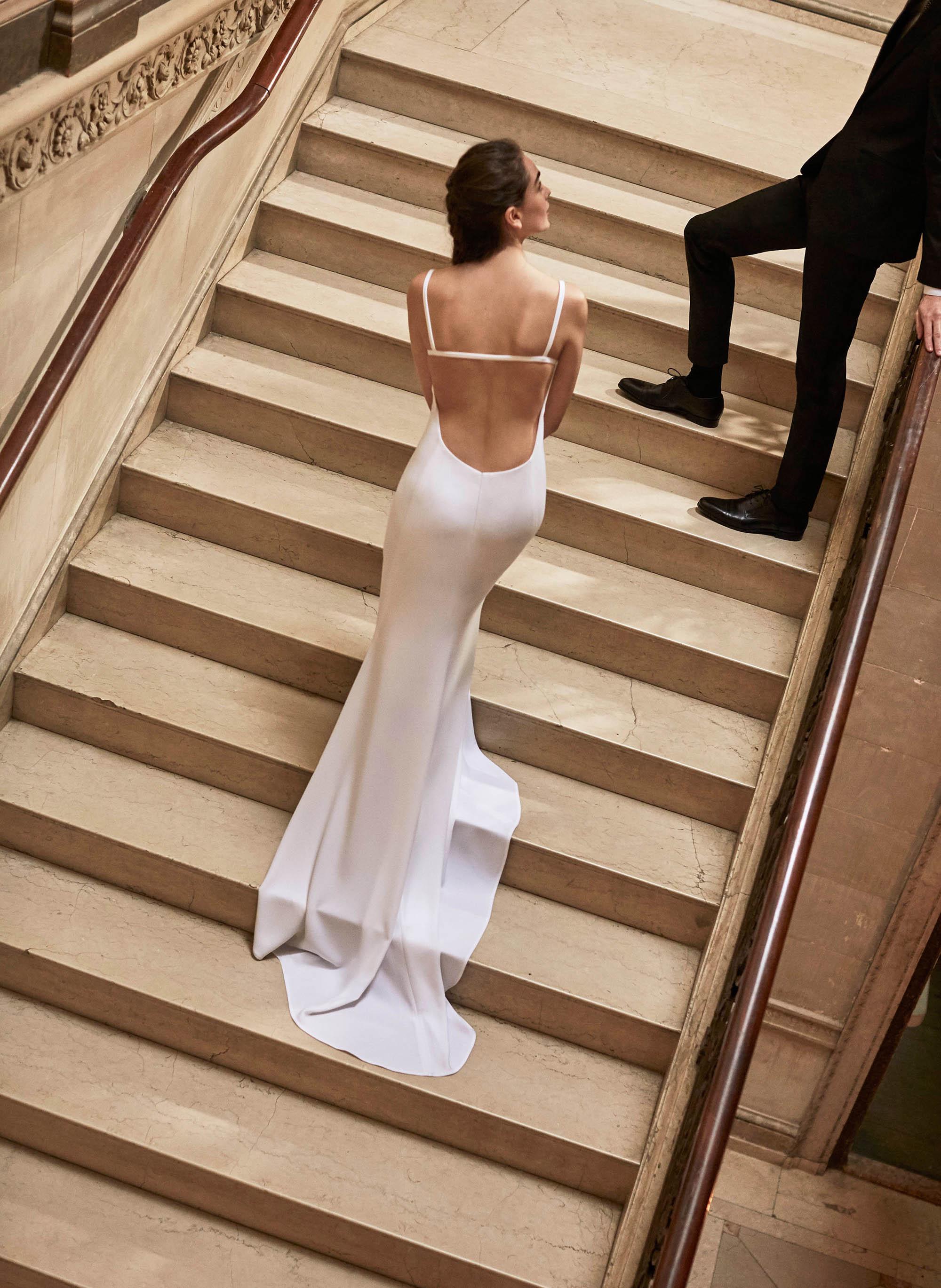 Carolina Herrera wedding dress spring 2019 spaghetti strap sheath with open back