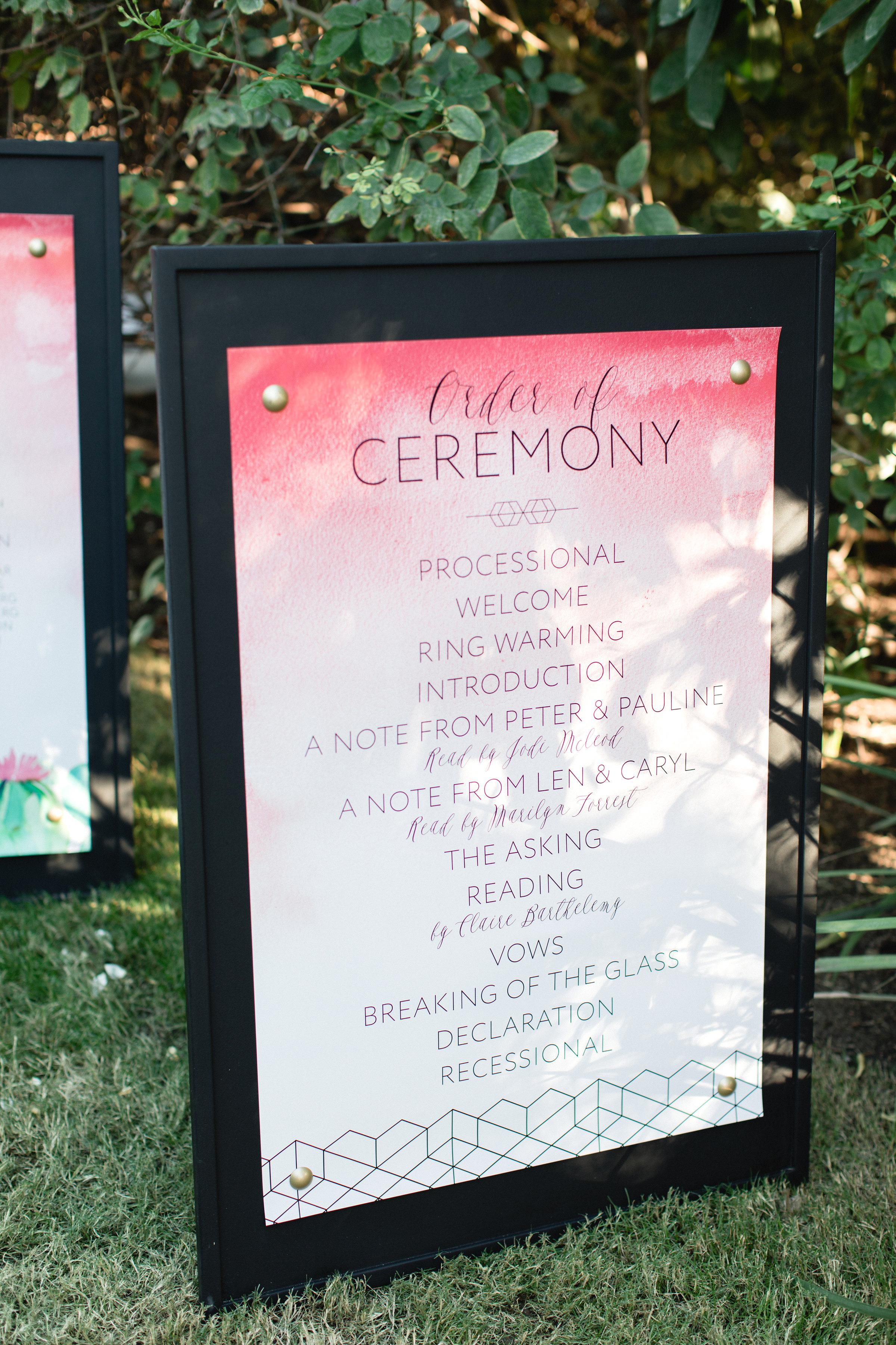 wedding program sign