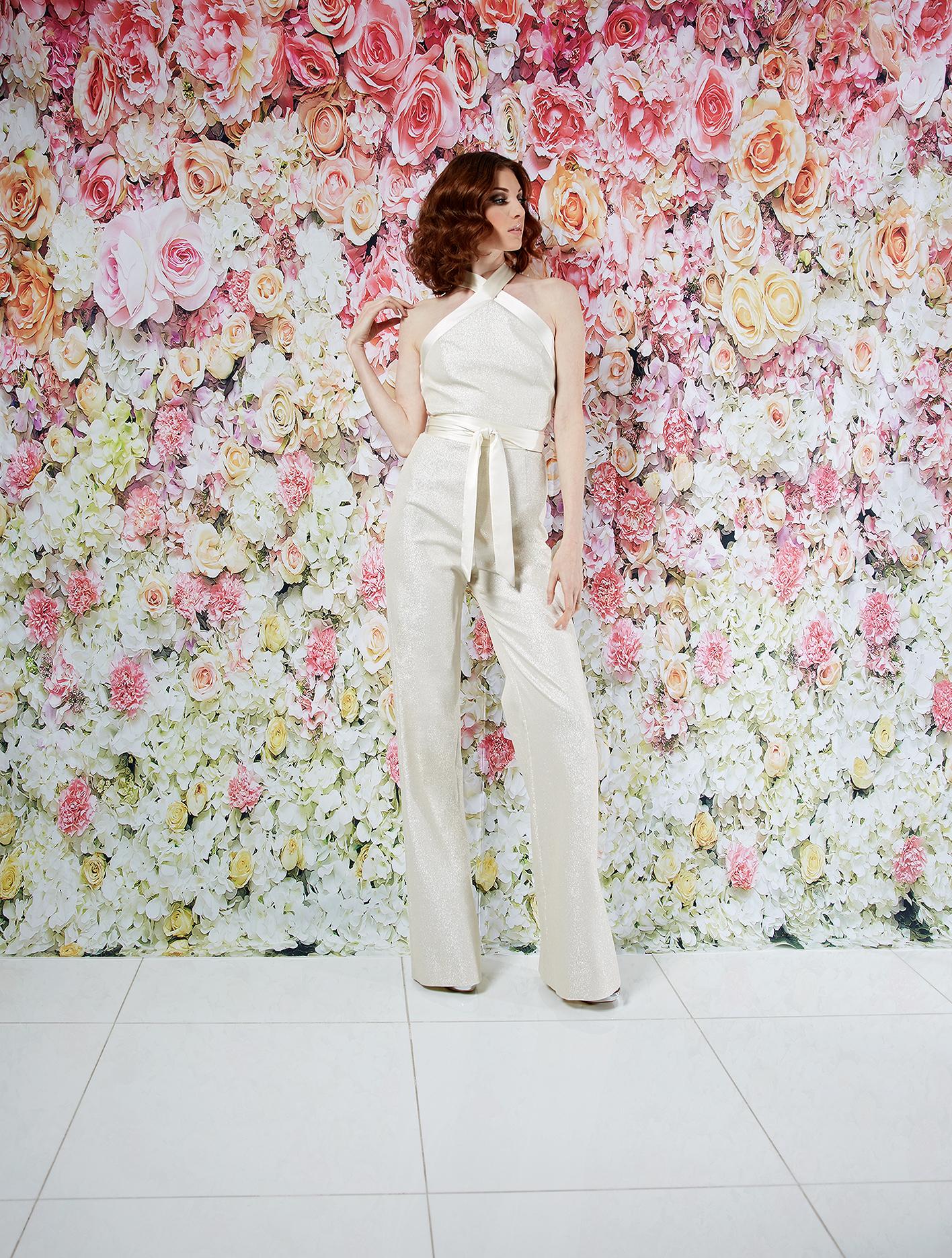 randi rahm wedding dress spring 2019 sparkly halter jumpsuit